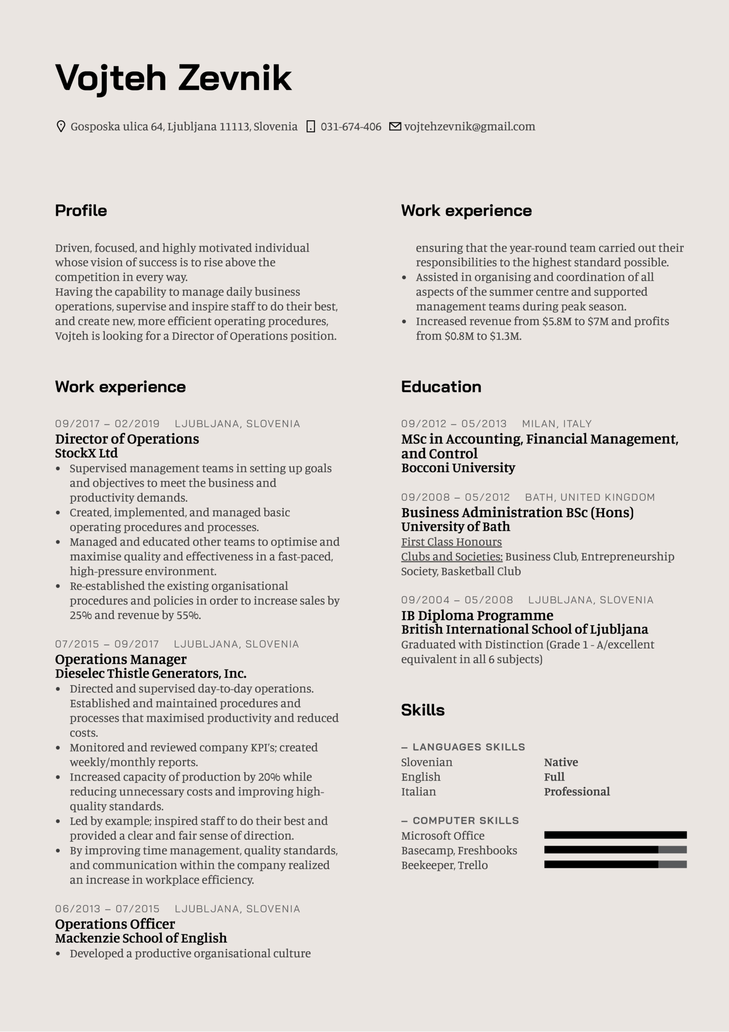 Director of Operations Resume Template (Teil 1)