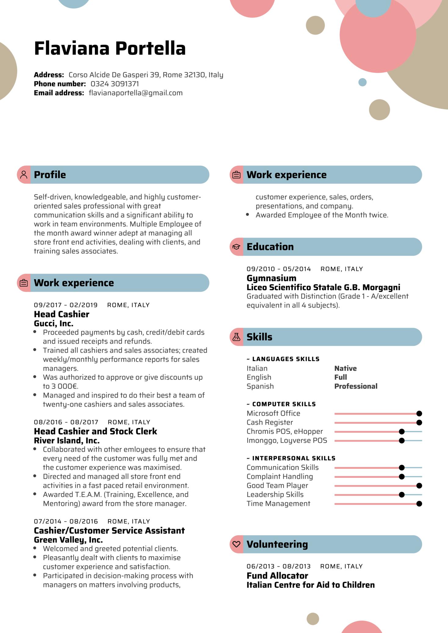 Head Cashier Resume Template (parte 1)