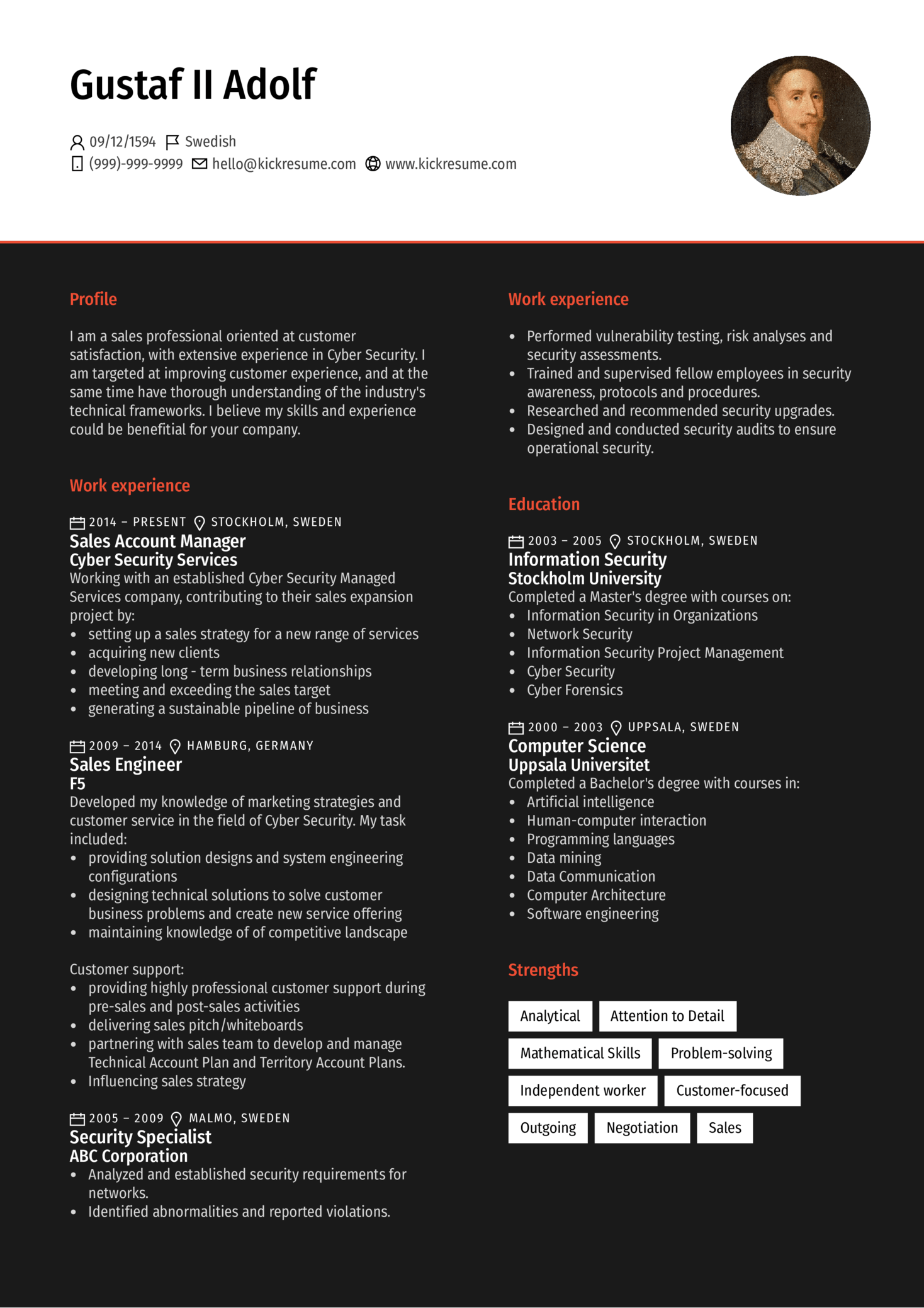 Cyber Security Account Manager Resume Sample (parte 1)