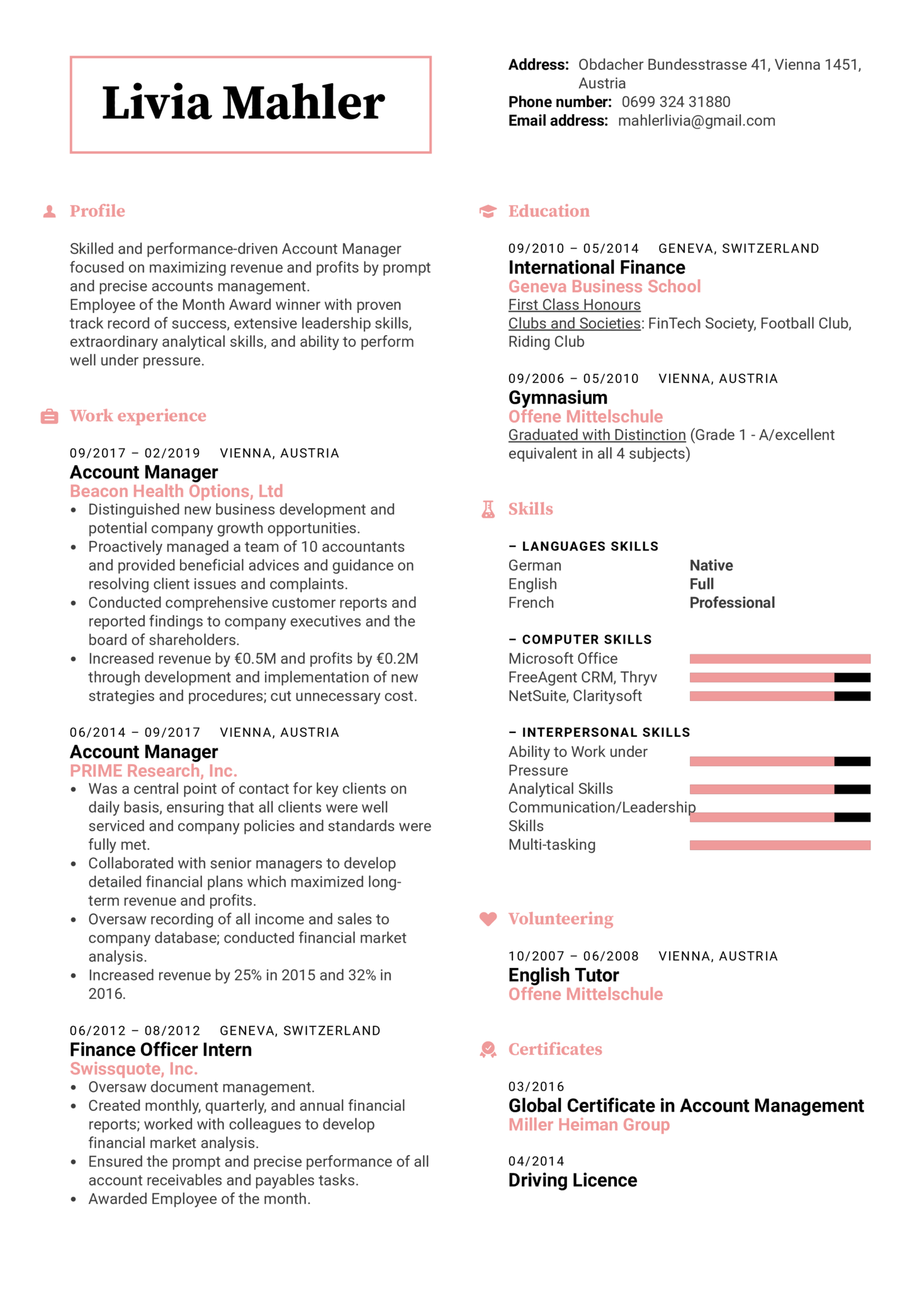 Account Manager Resume Template (Part 1)