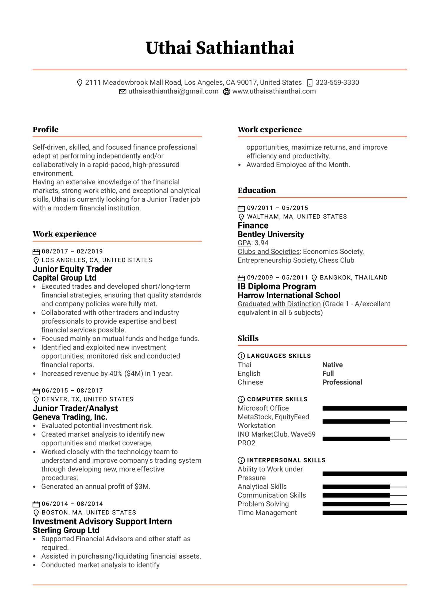 Junior Trader Resume Template (Part 1)