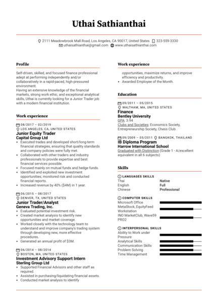 Junior Trader Resume Template