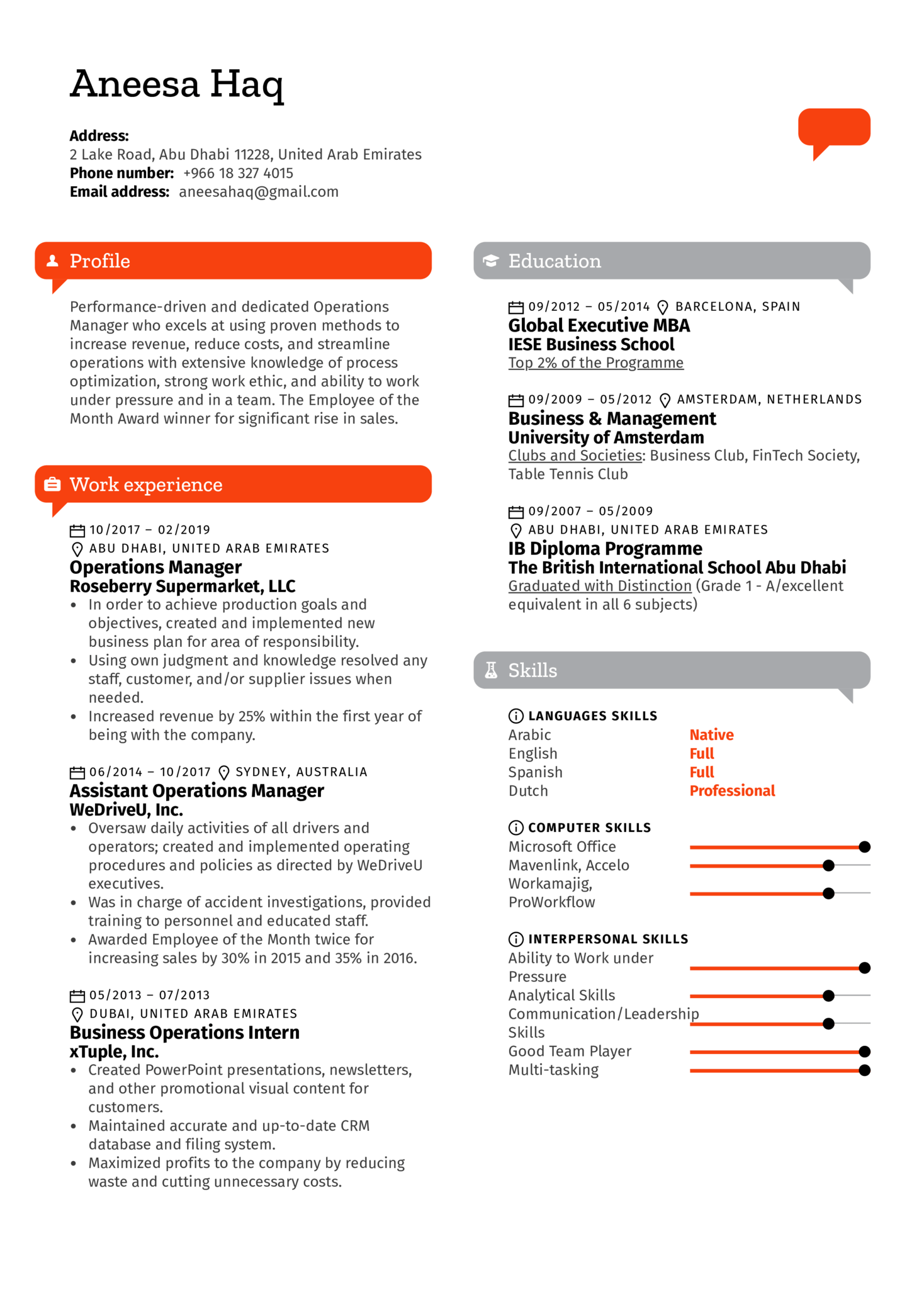 Operations Manager Resume Template (Parte 1)