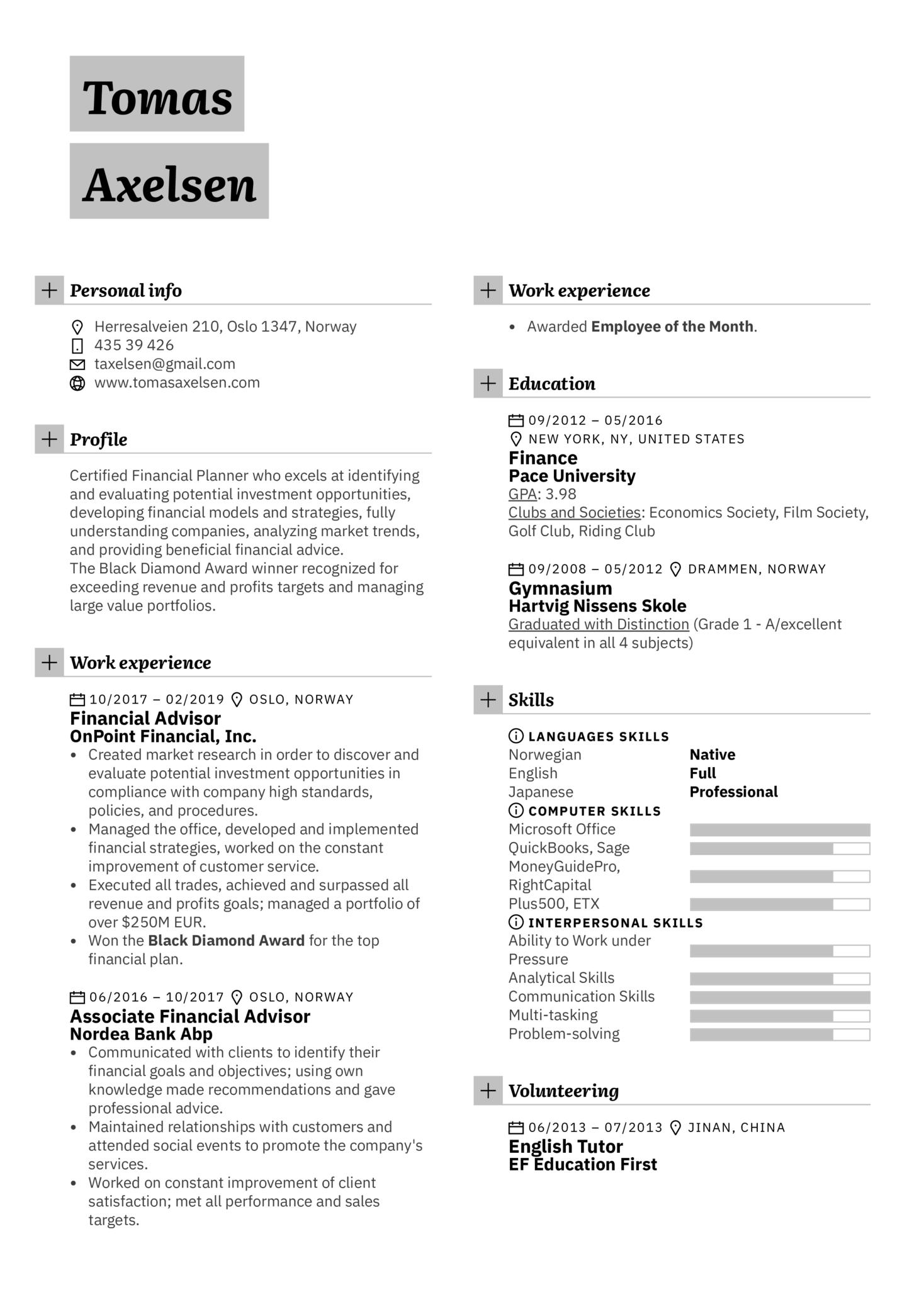 Financial Advisor Resume Template (parte 1)