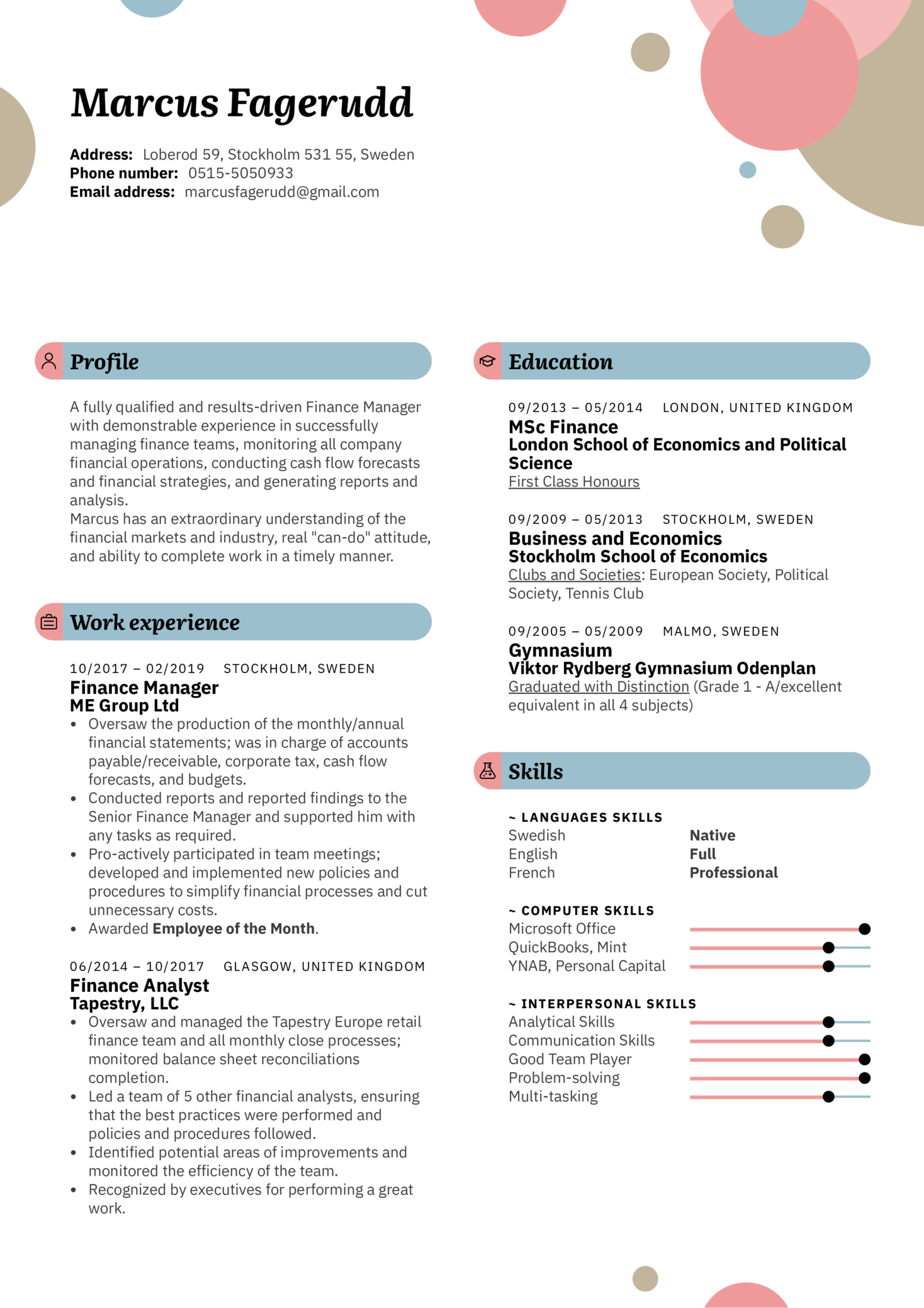 Finance Manager Resume Template (parte 1)