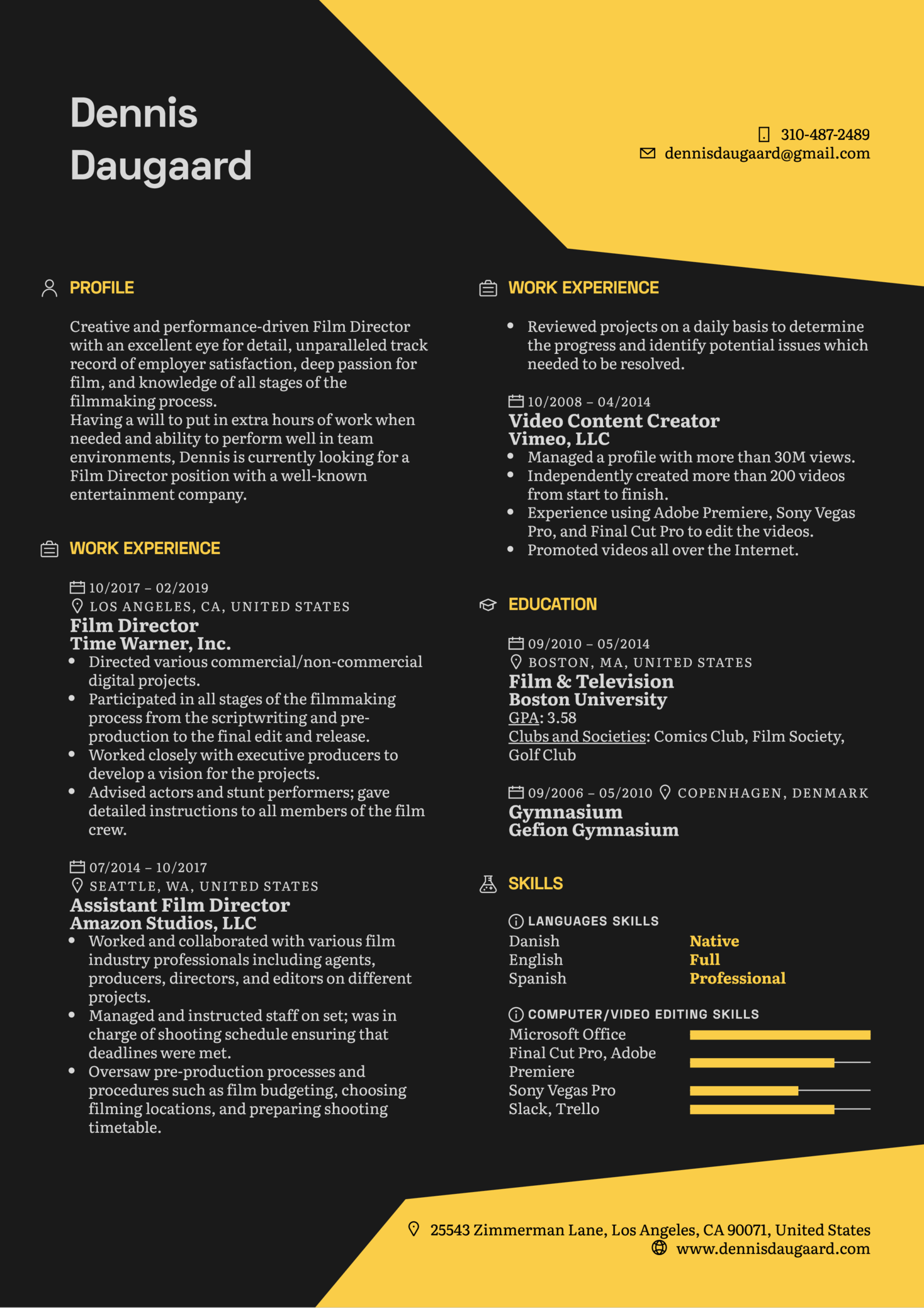 Film Director Resume Template (parte 1)