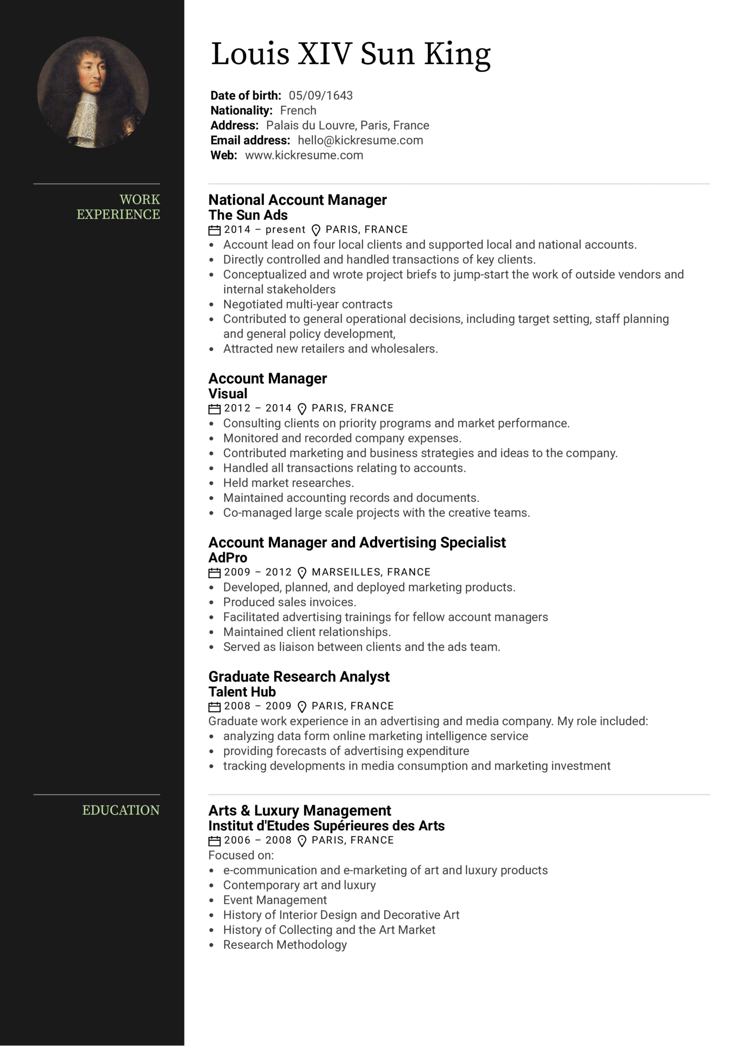 Advertising Account Manager Resume Sample (Part 1)