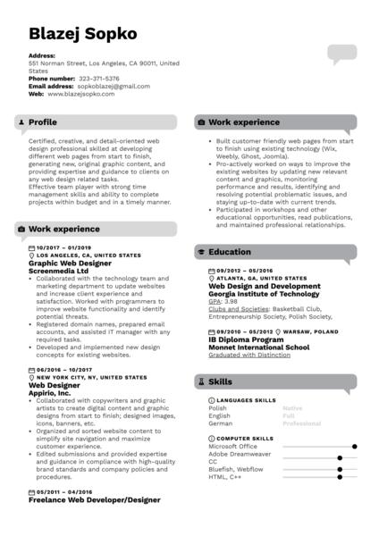 Graphic Web Designer Resume Template