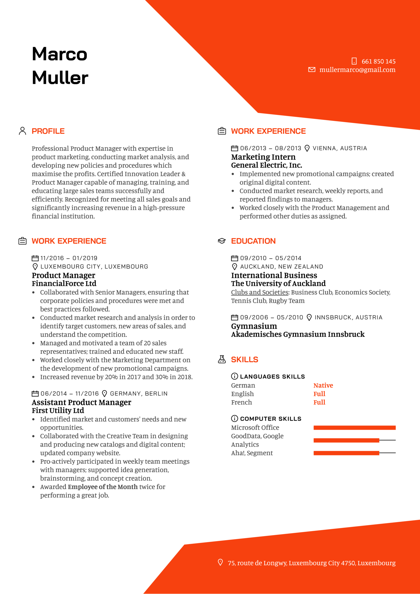 Product Manager Resume Template (Part 1)