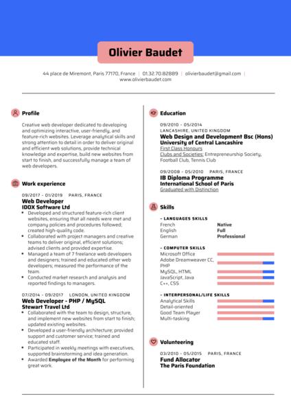 Web Developer Resume Template