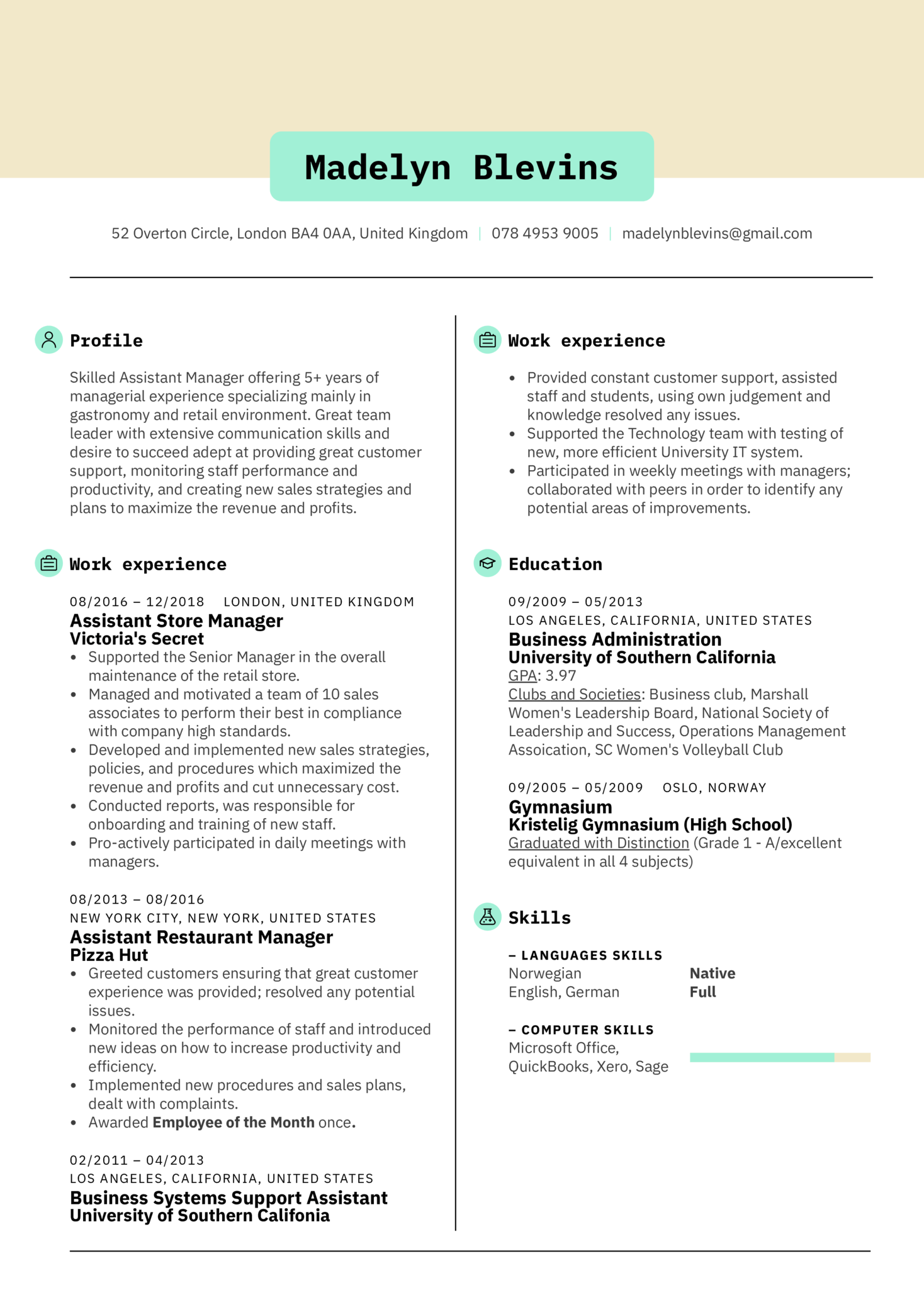 Assistant Manager Resume Example (parte 1)