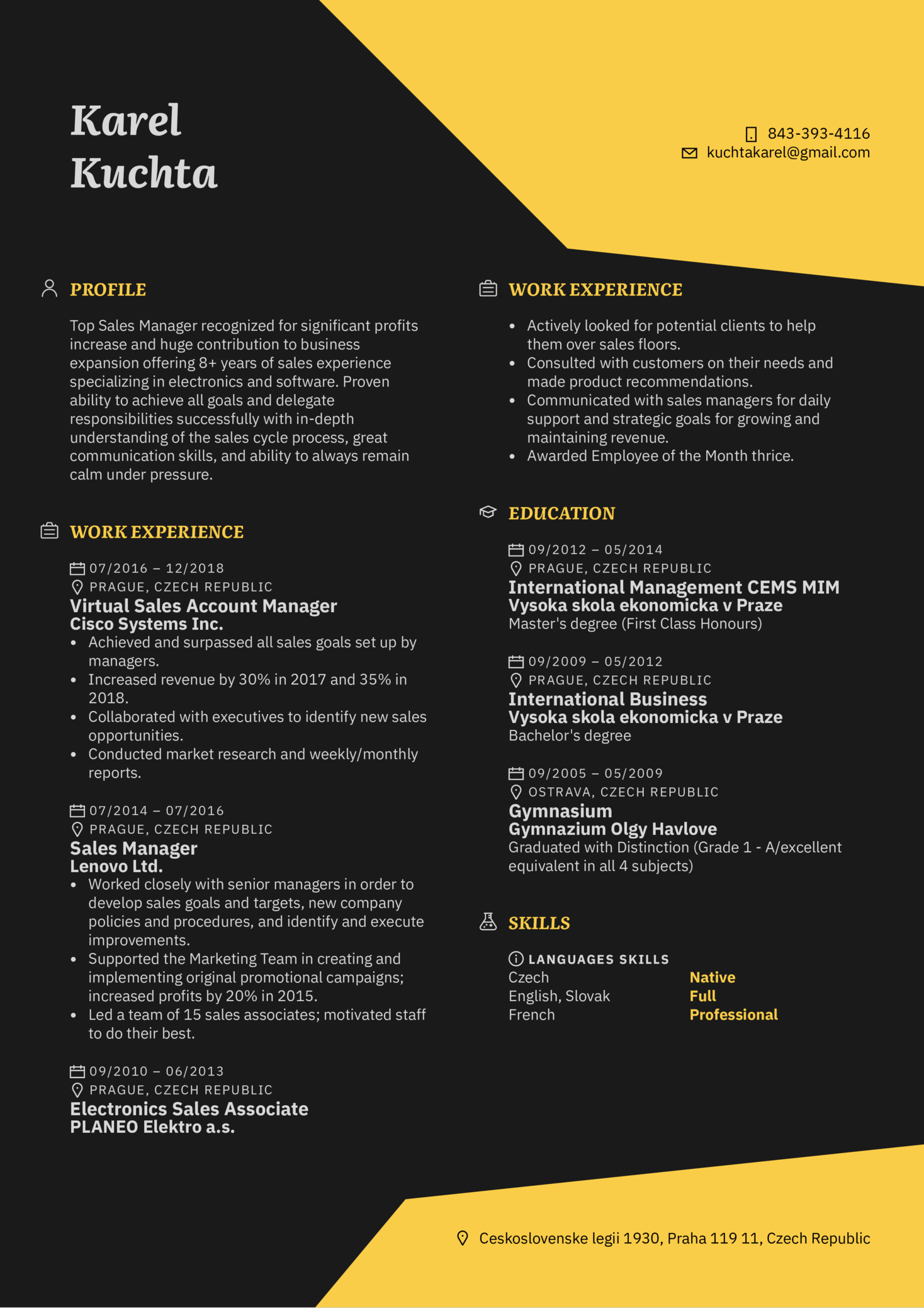 Sales Manager Resume Template (Part 1)