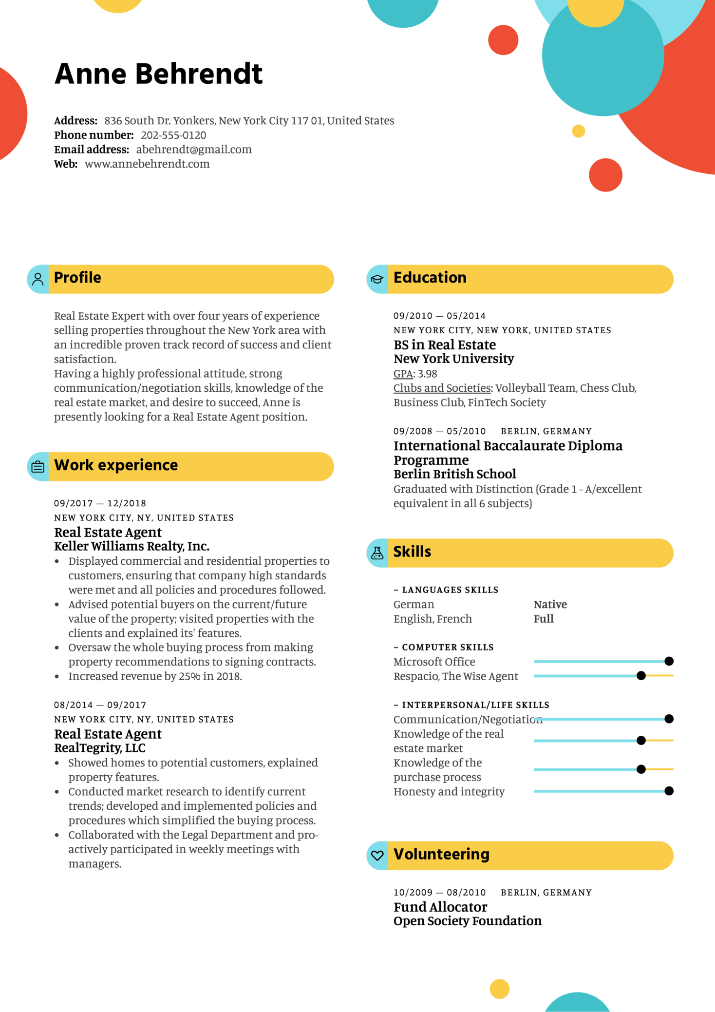 Real Estate Agent Resume Template (Part 1)