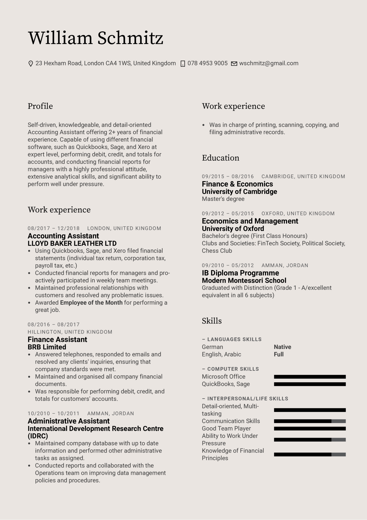 Accounting Assistant Resume Template (parte 1)