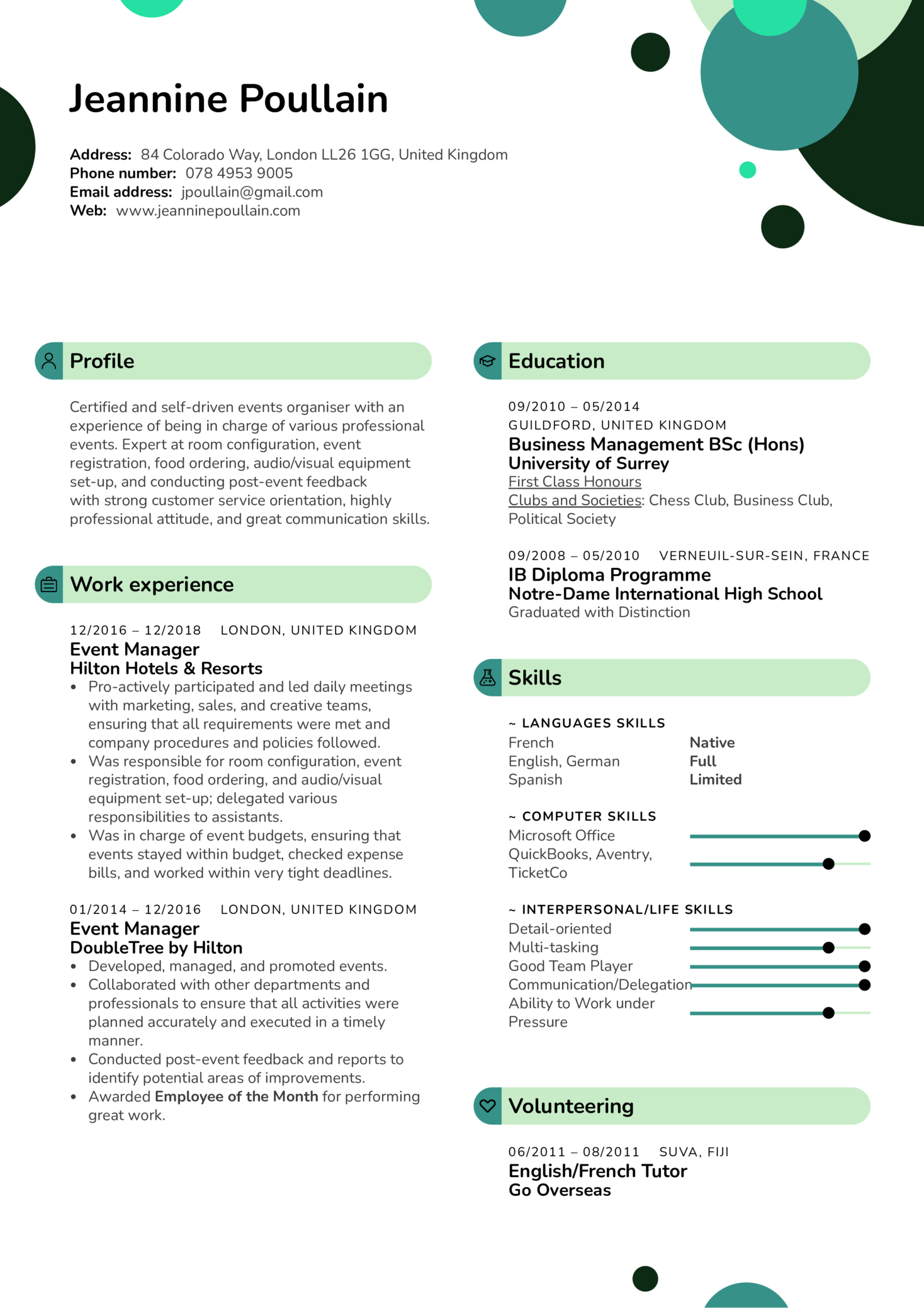 Event Manager Resume Template (Part 1)