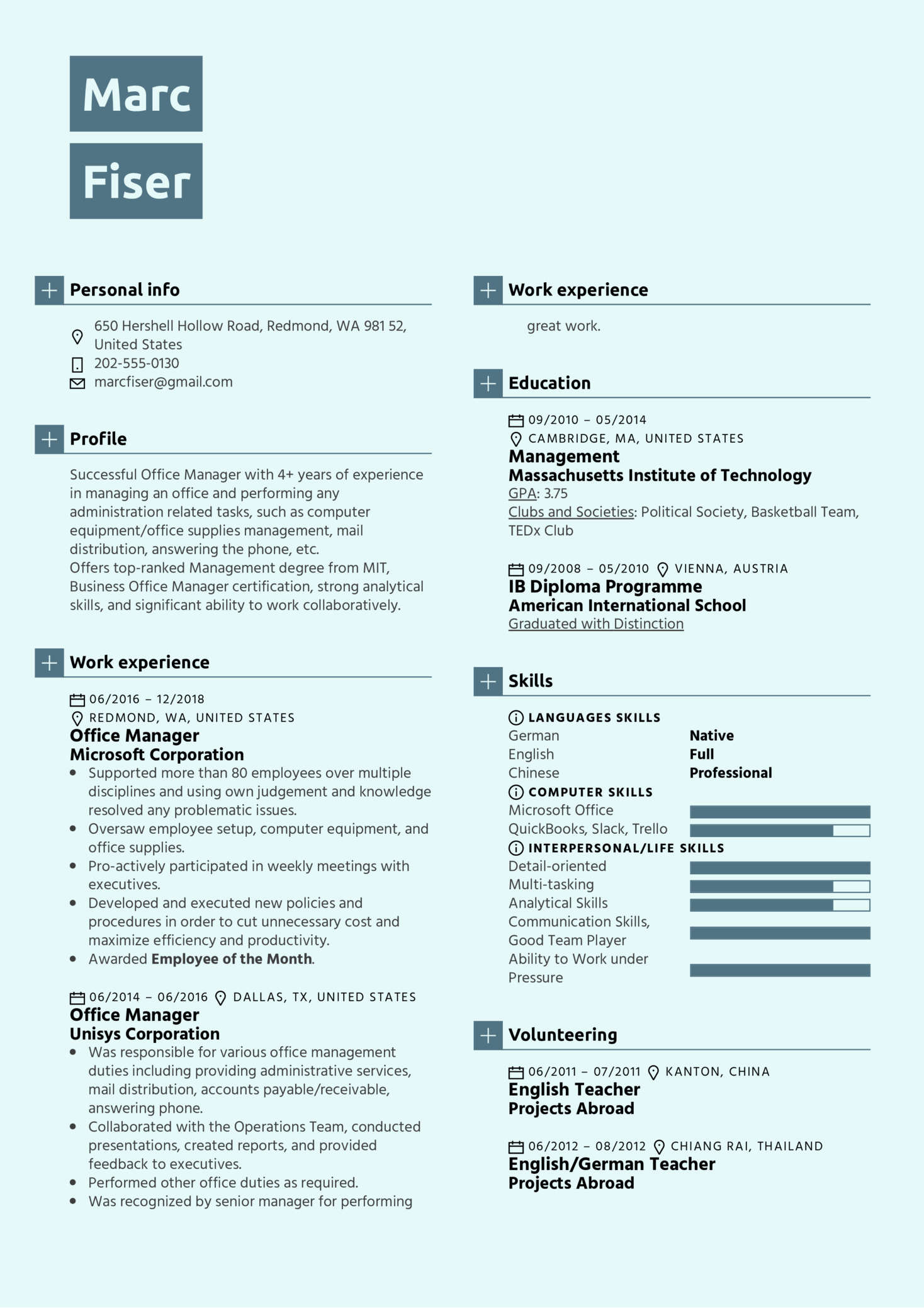 Office Manager Resume Template (parte 1)