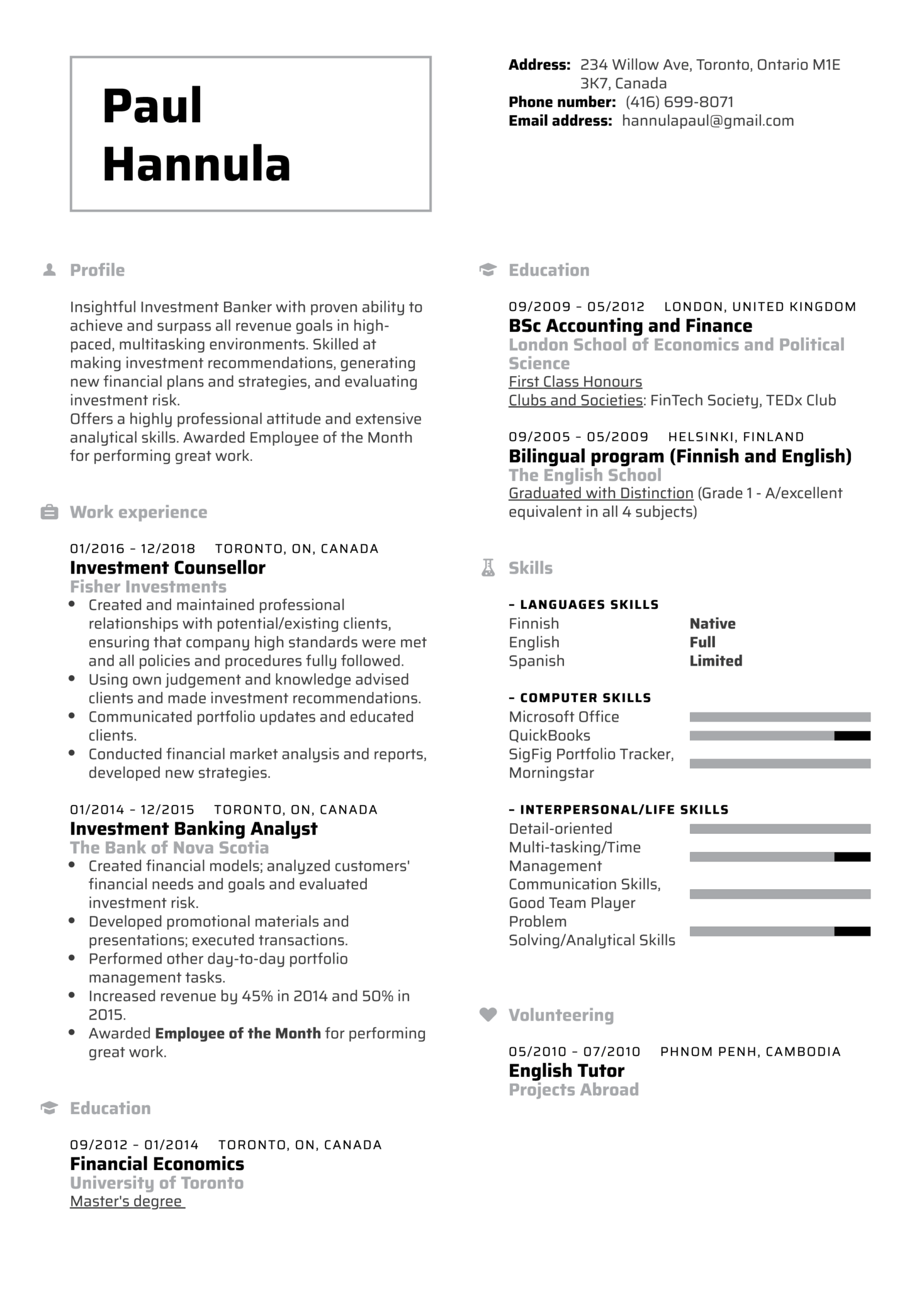 Investment Banker Resume Template (parte 1)