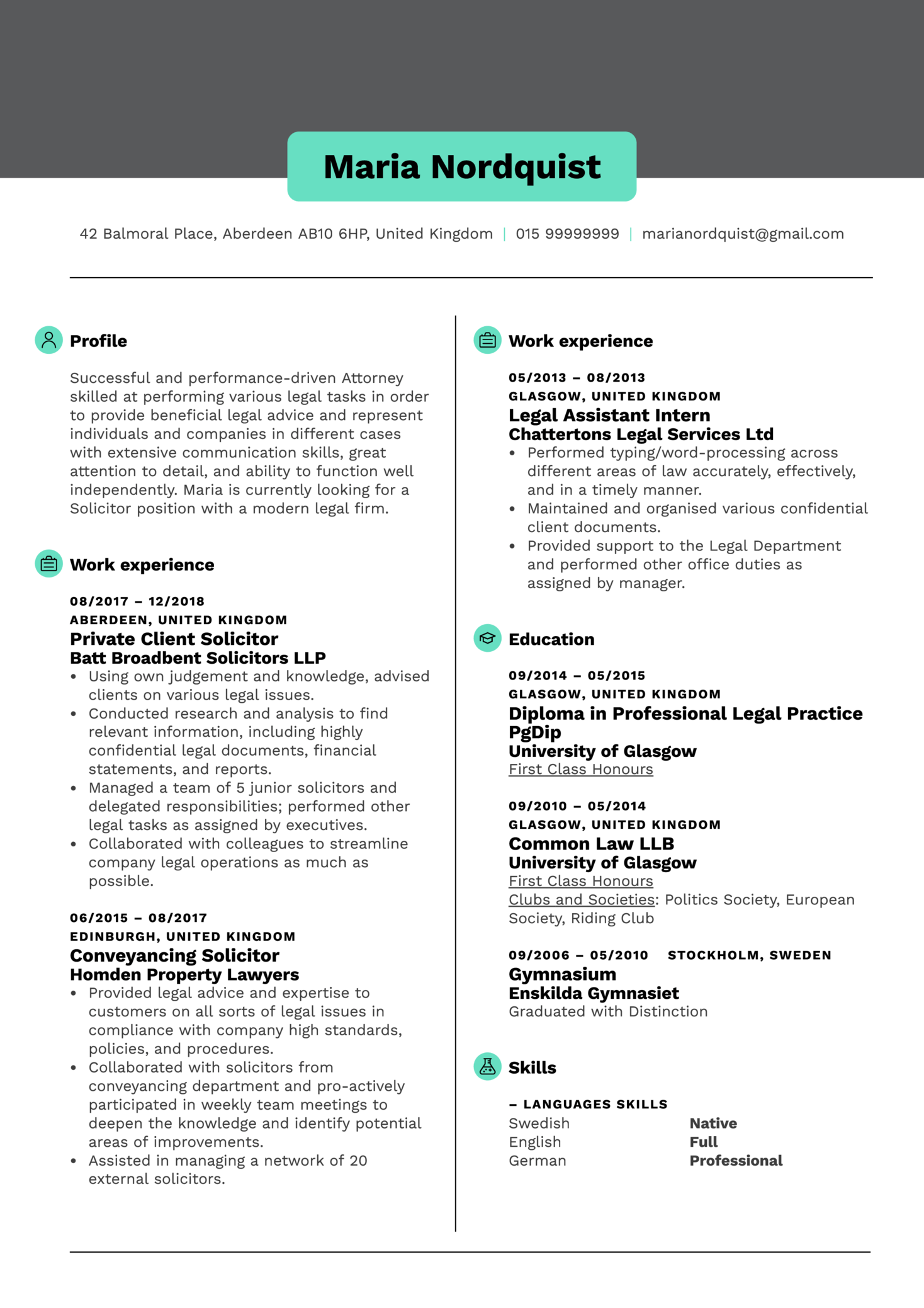 Solicitor Resume Template (Parte 1)