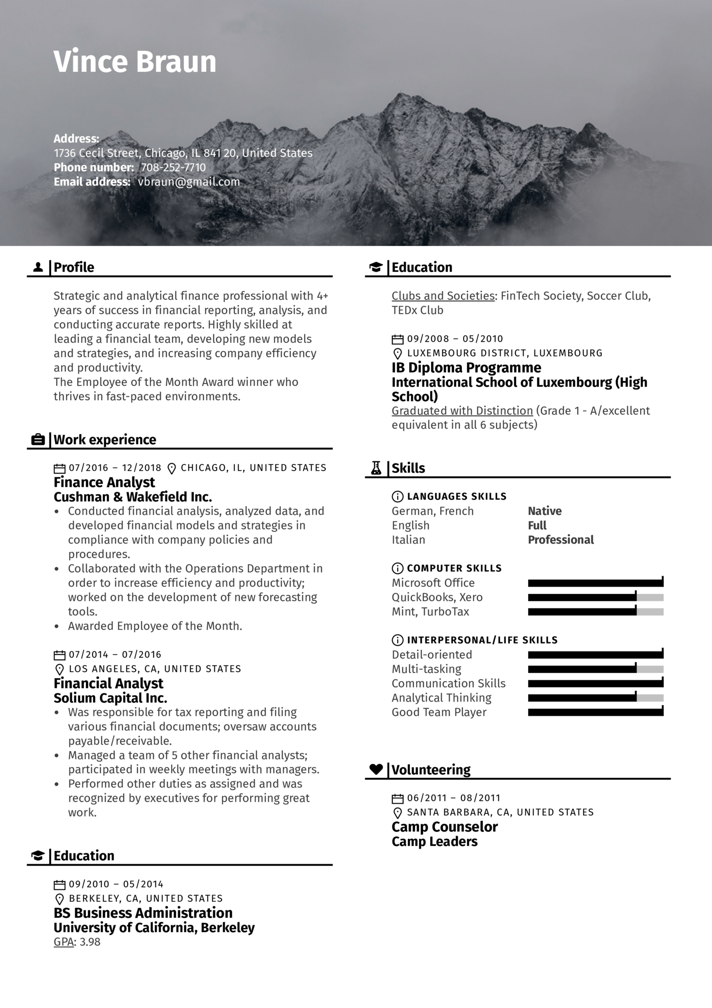 Financial Analyst Resume Template (Part 1)