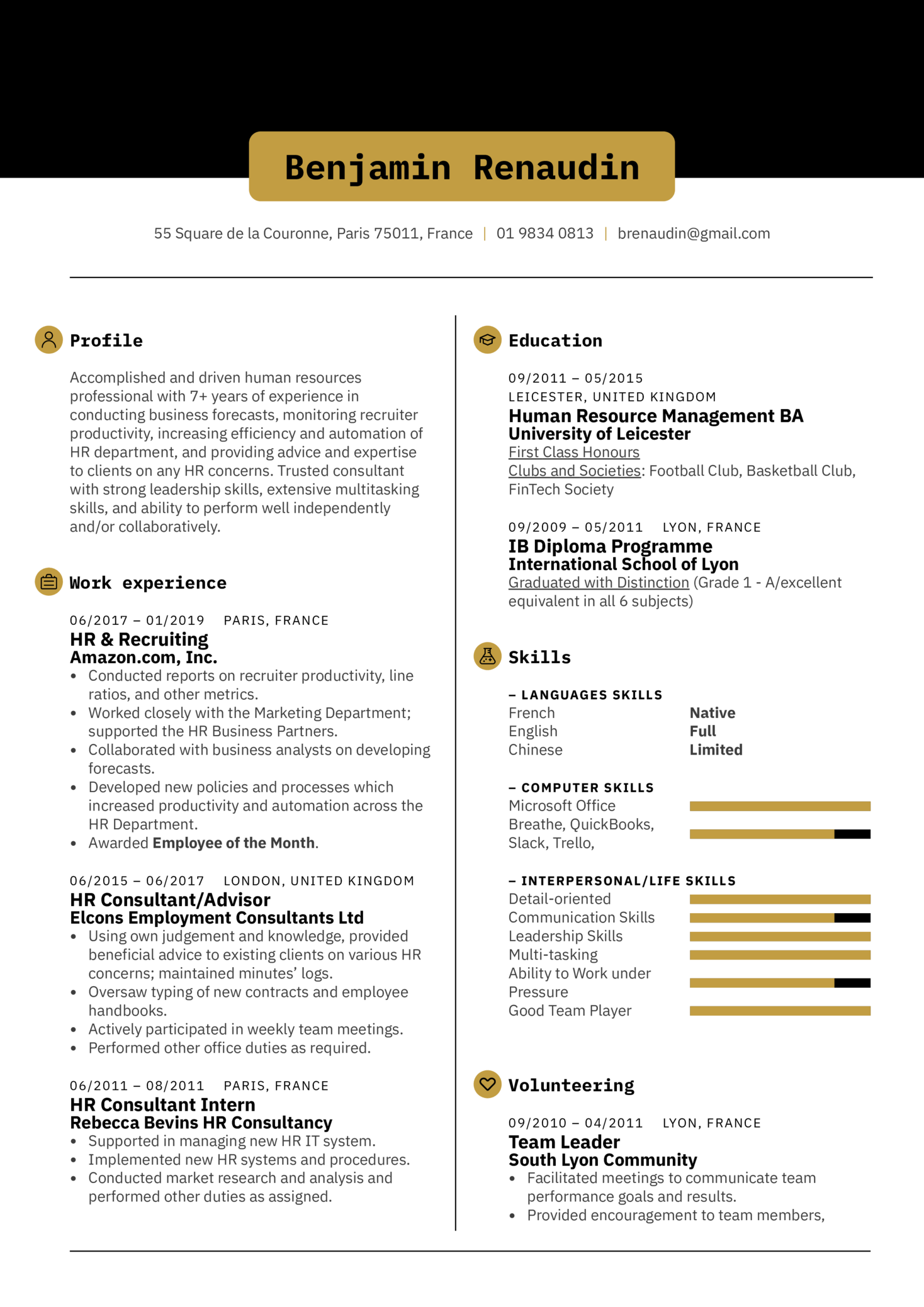 HR Consultant Resume Template (časť 1)