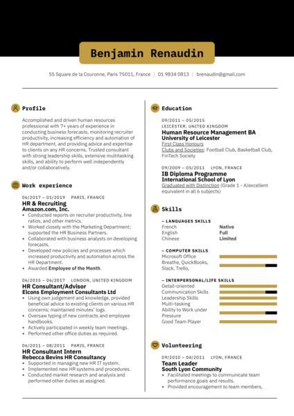 HR Consultant Resume Template