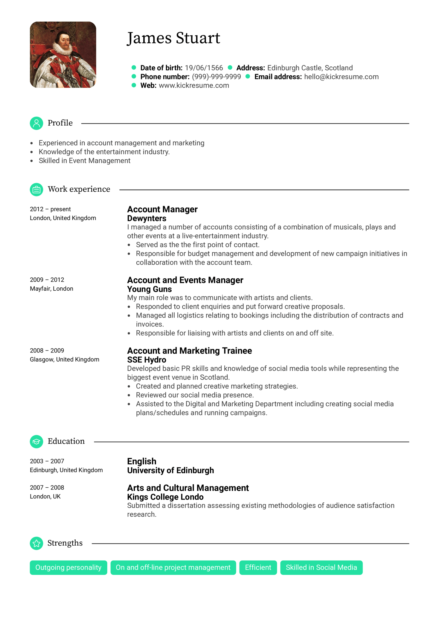 Entertainment Account Manager Resume Sample (Part 1)