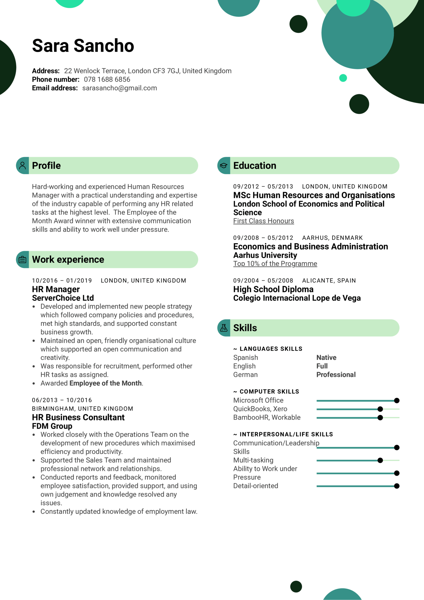 HR Manager Resume Template (Teil 1)