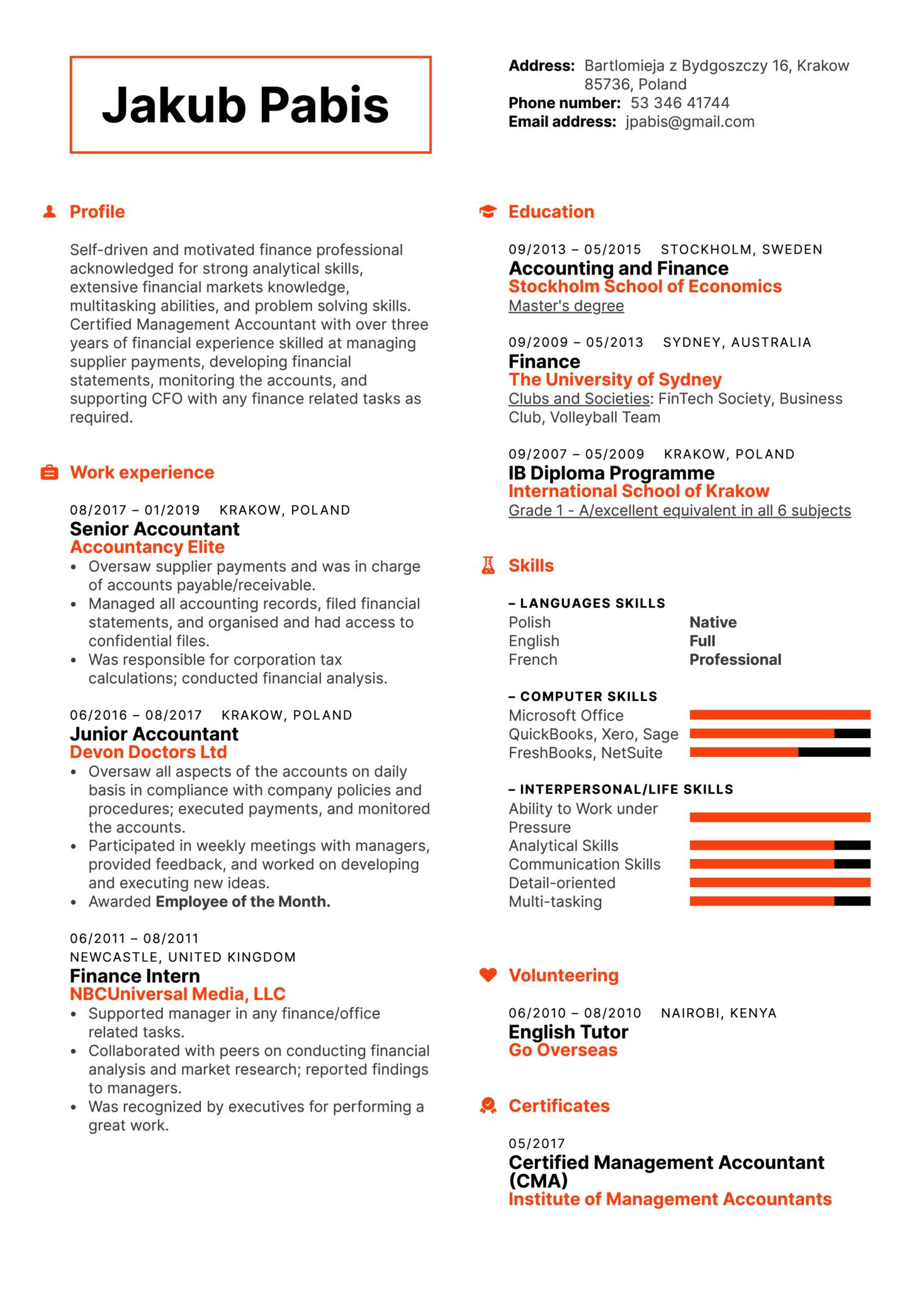 Senior Accountant Resume Template (Part 1)