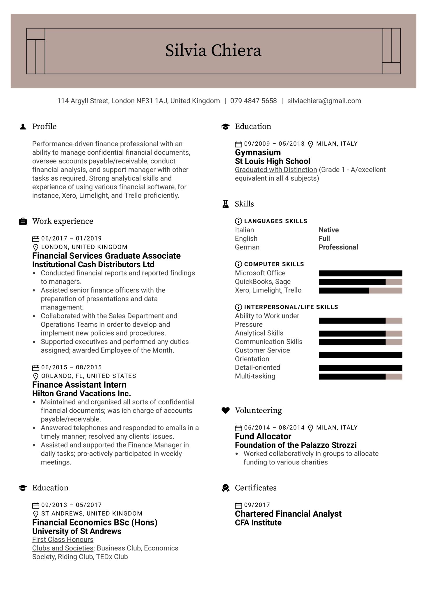 Financial Associate Resume Template (Part 1)
