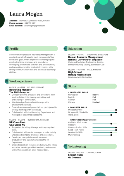 Recruiting Manager Resume Template