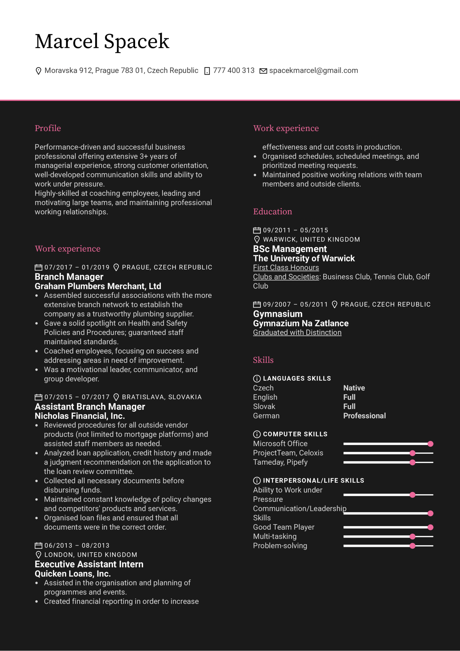 Branch Manager Resume Template (Part 1)