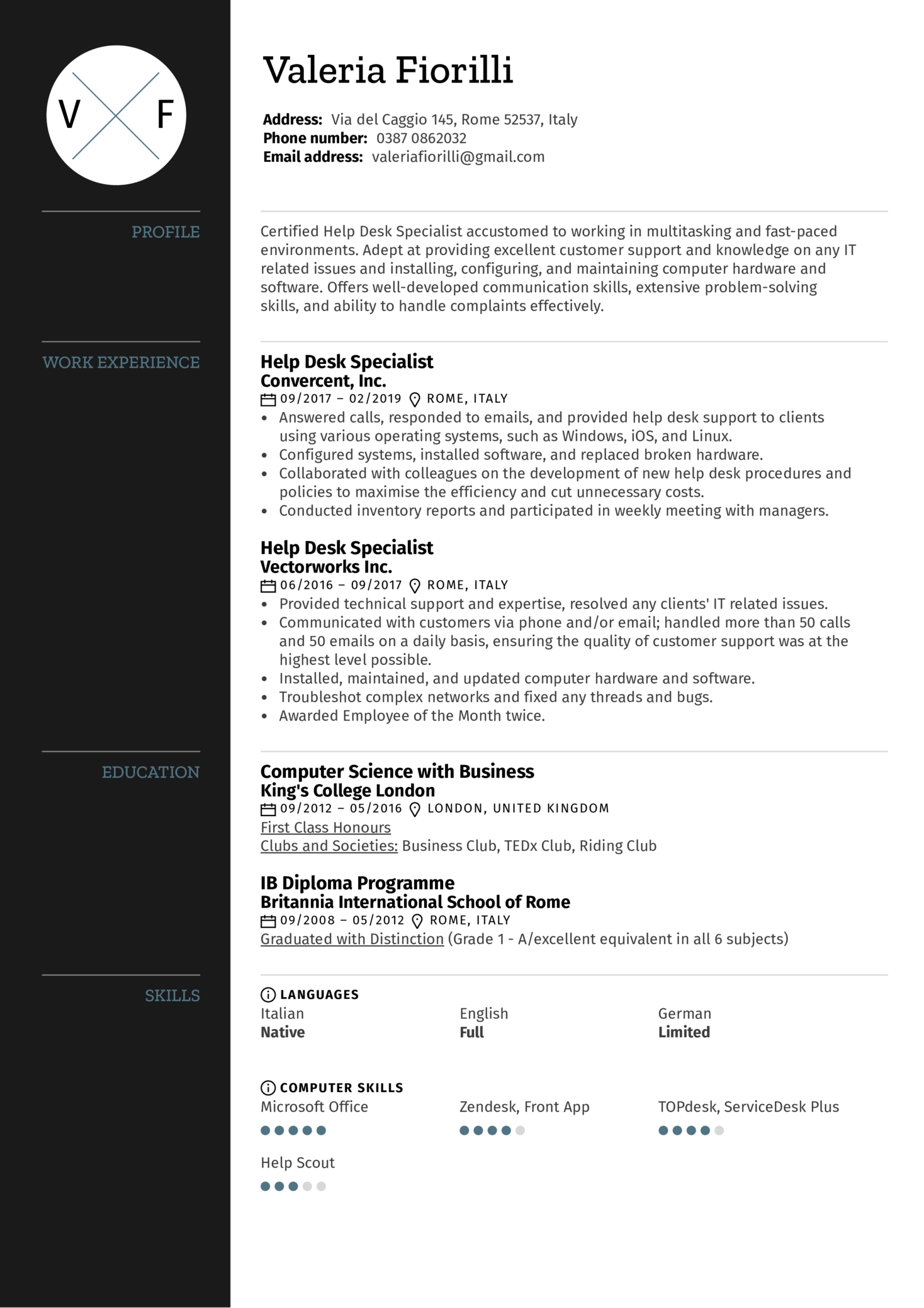 Help Desk Specialist Resume Sample (Part 1)
