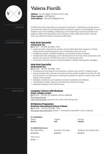 Help Desk Specialist Resume Sample