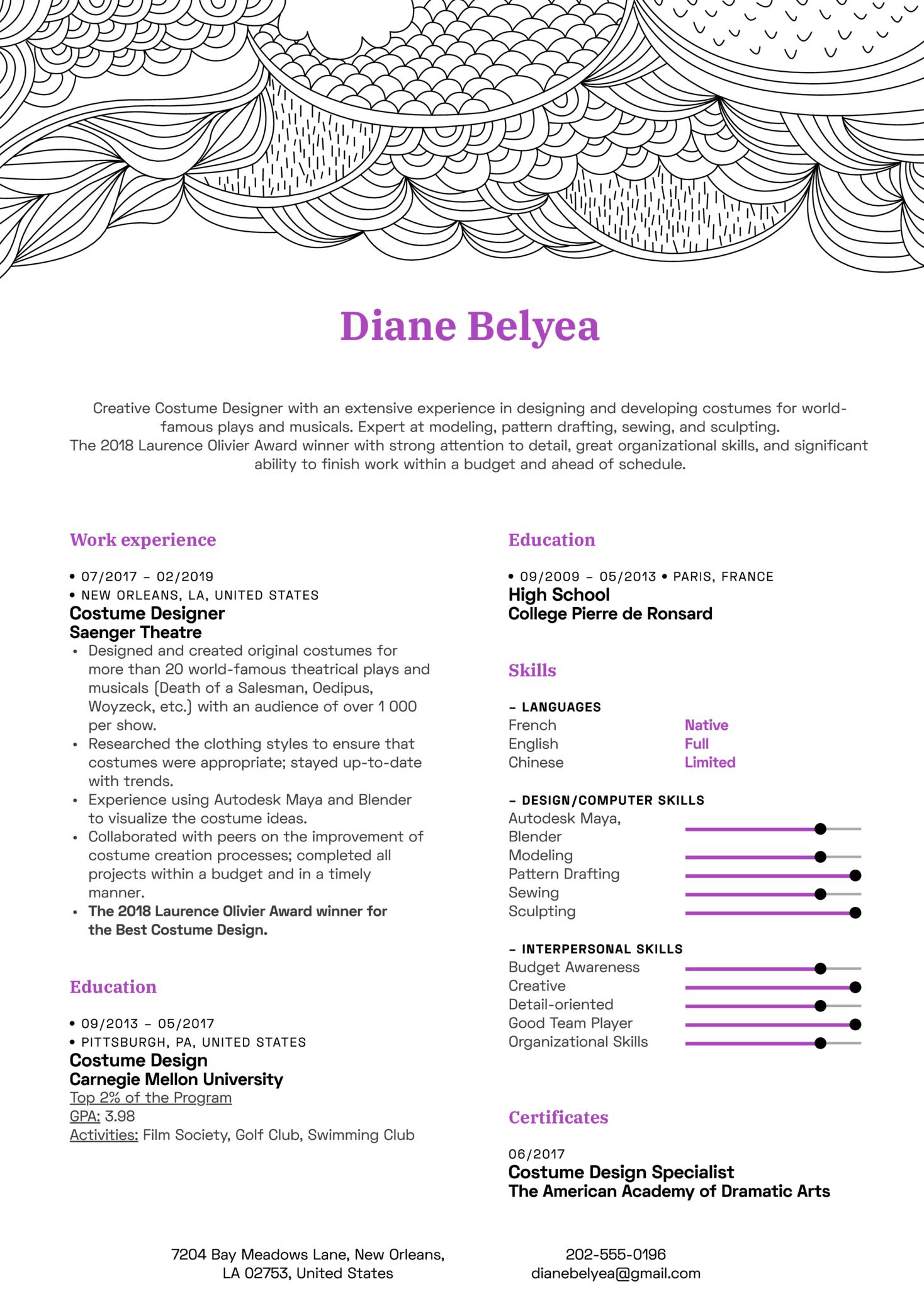 Costume Designer Resume Template
