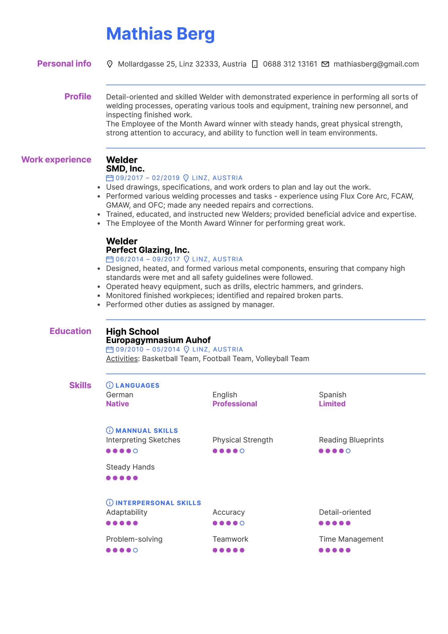 Welder Resume Sample (Part 1)