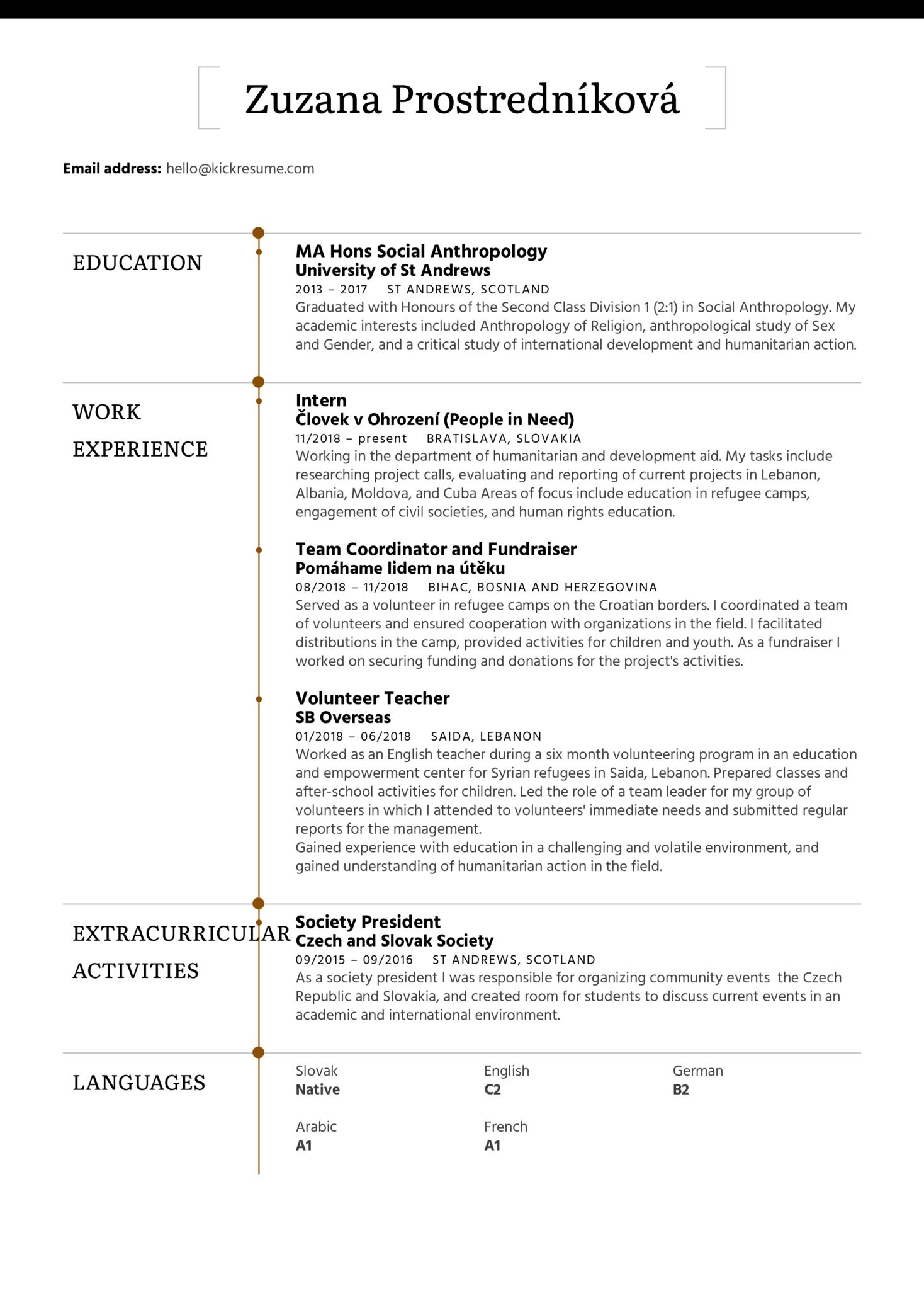 Refugee Volunteer Resume Sample (Part 1)