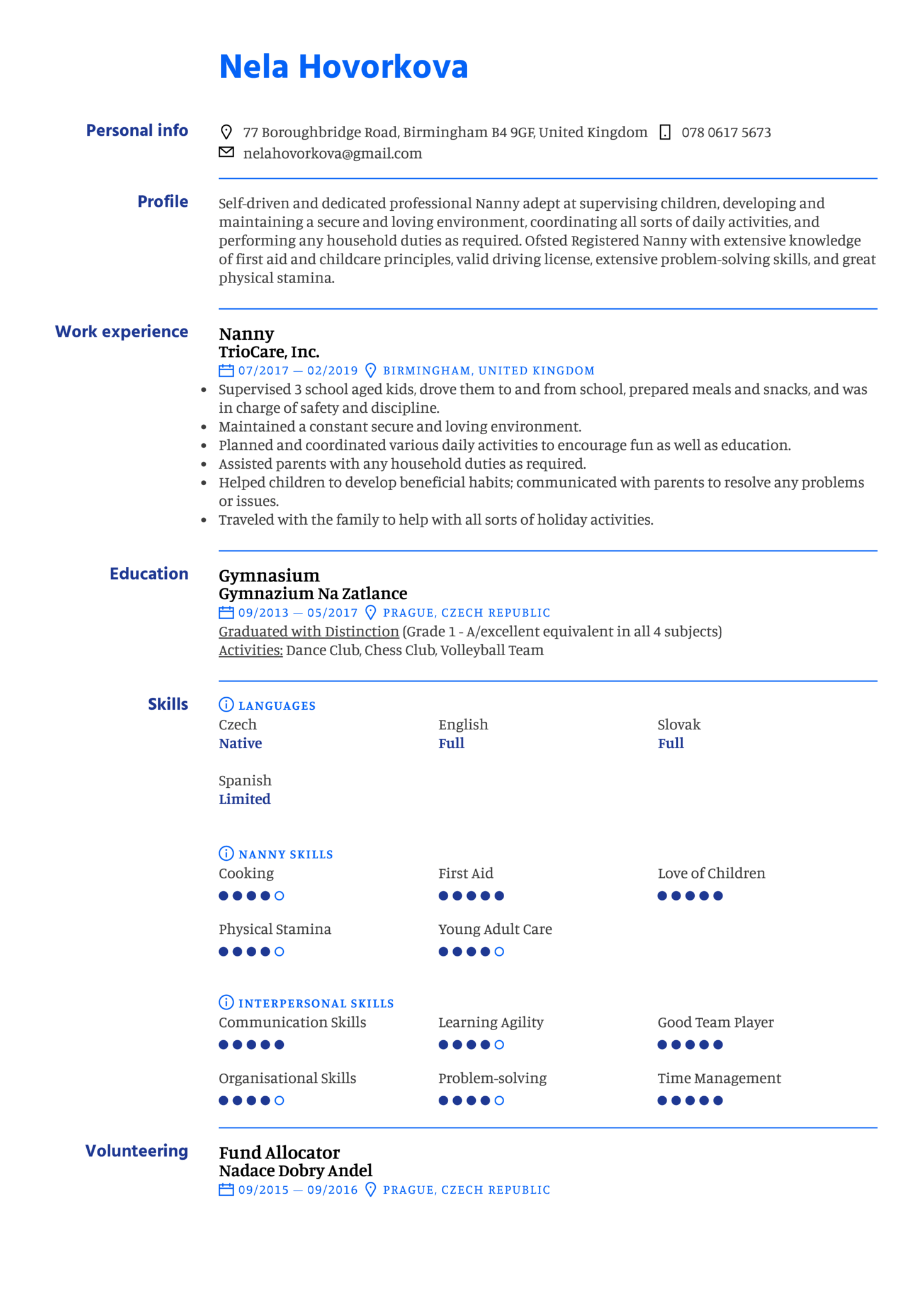 Nanny Resume Template (Part 1)