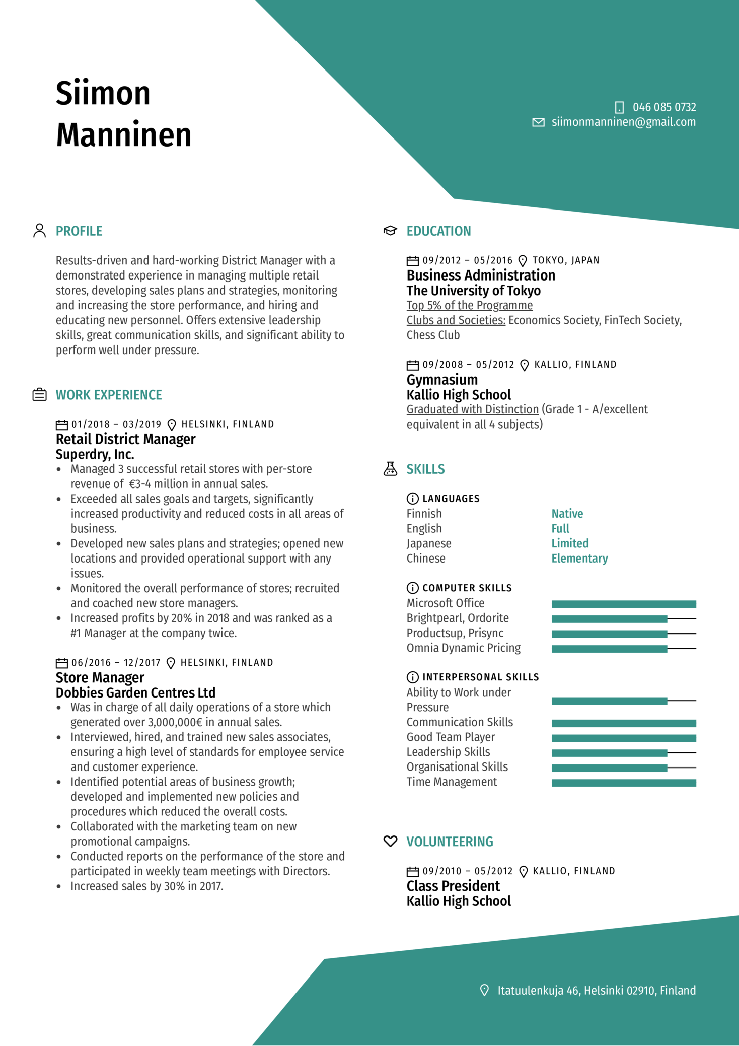 District Manager Resume Sample (parte 1)
