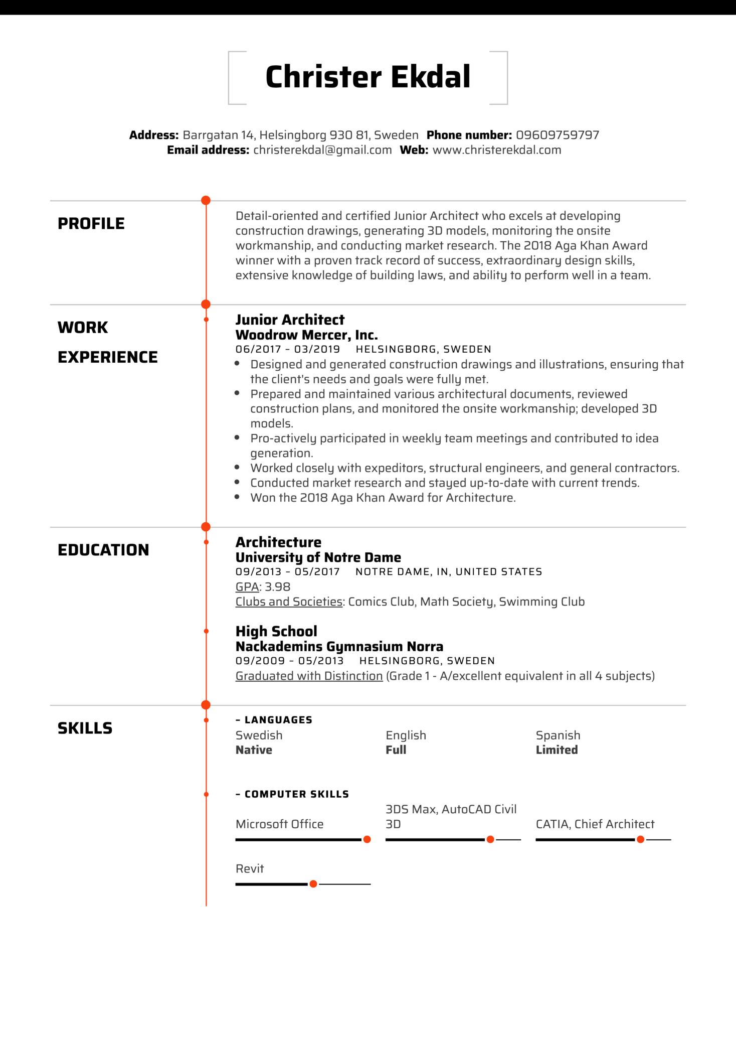 Junior Architect Resume Sample (parte 1)
