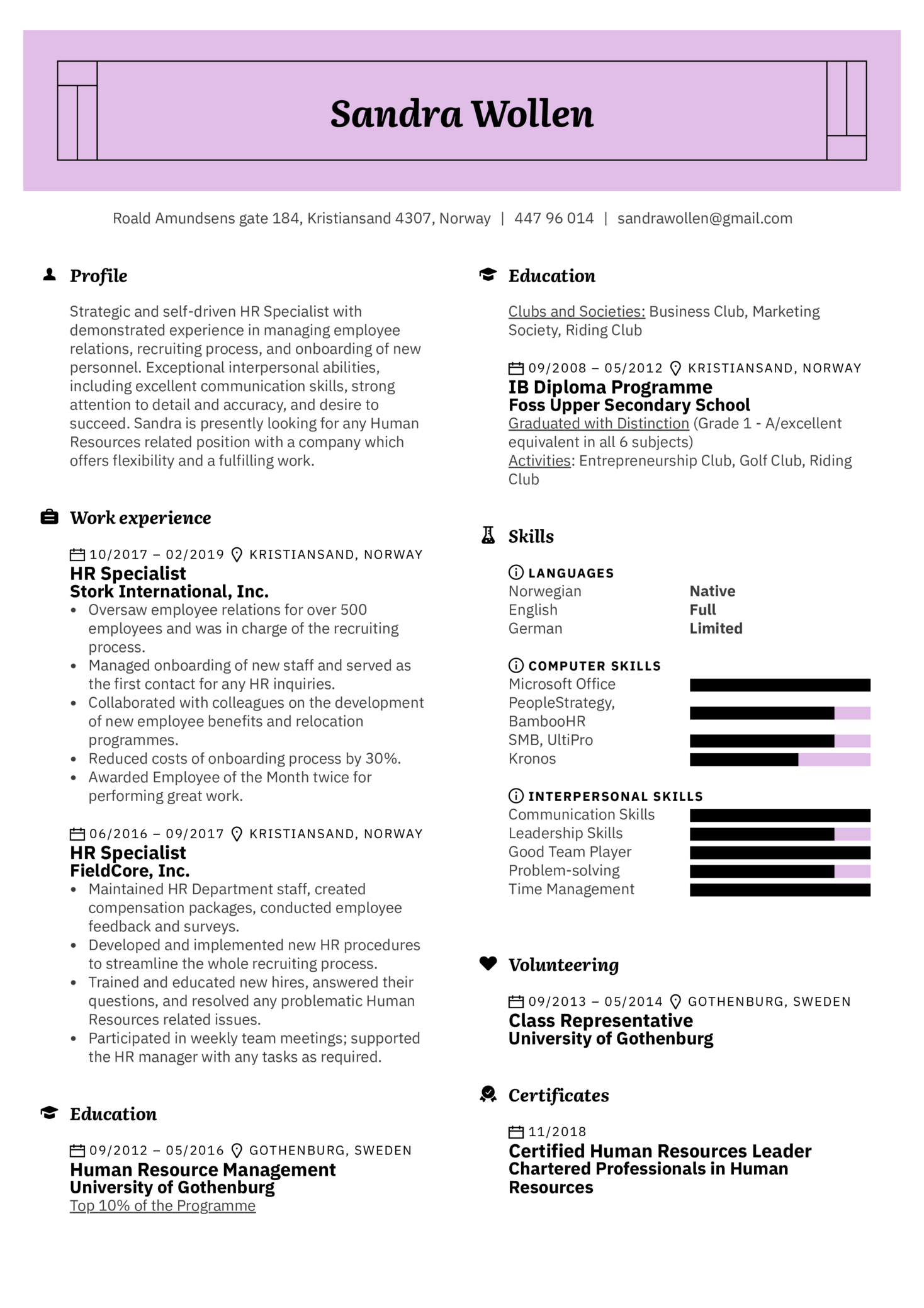 Human Resources Resume Template (Teil 1)