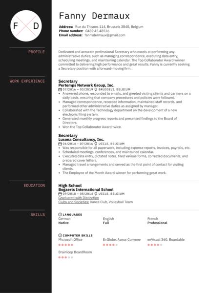 Secretary Resume Sample