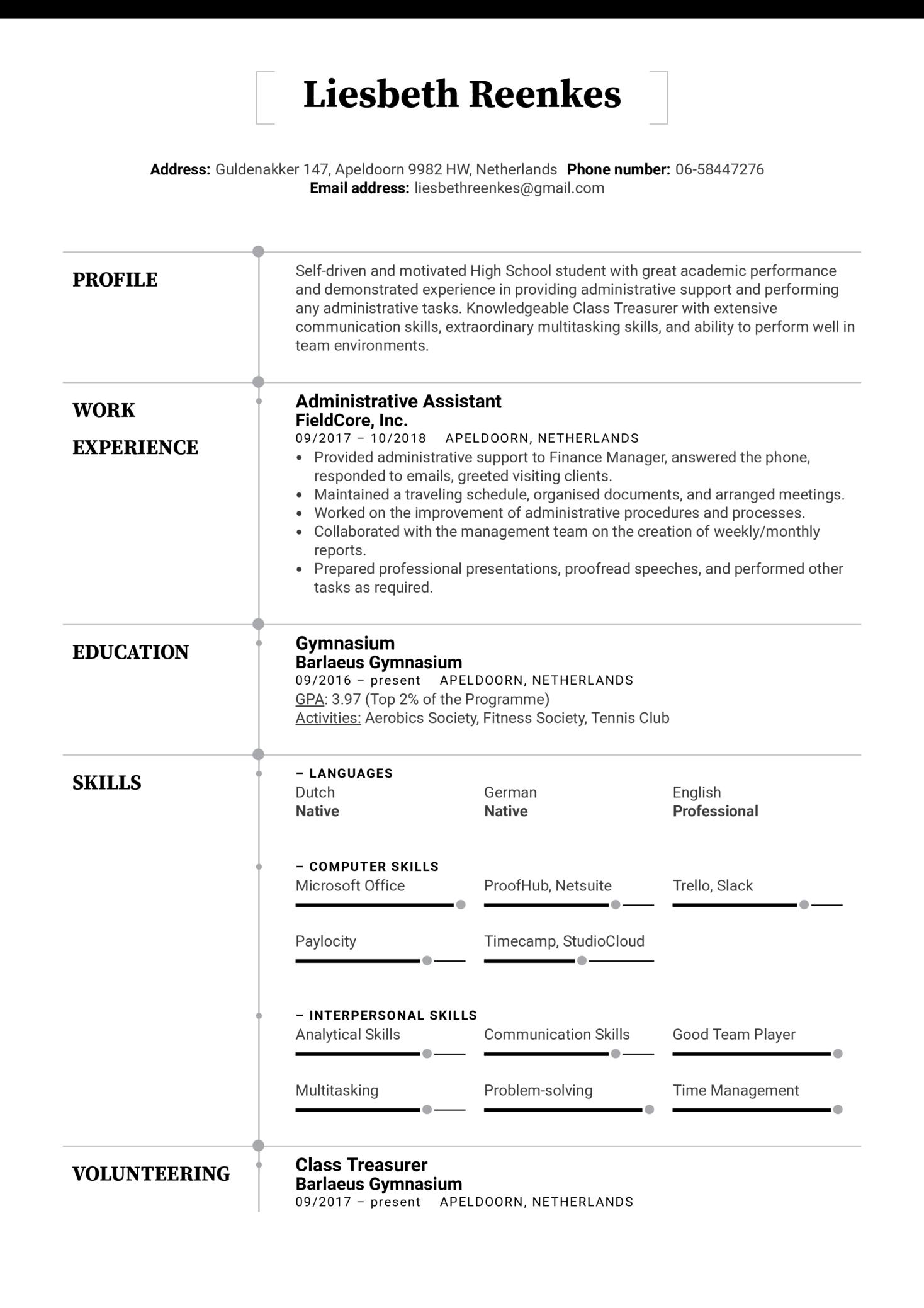 High School Resume Template (časť 1)