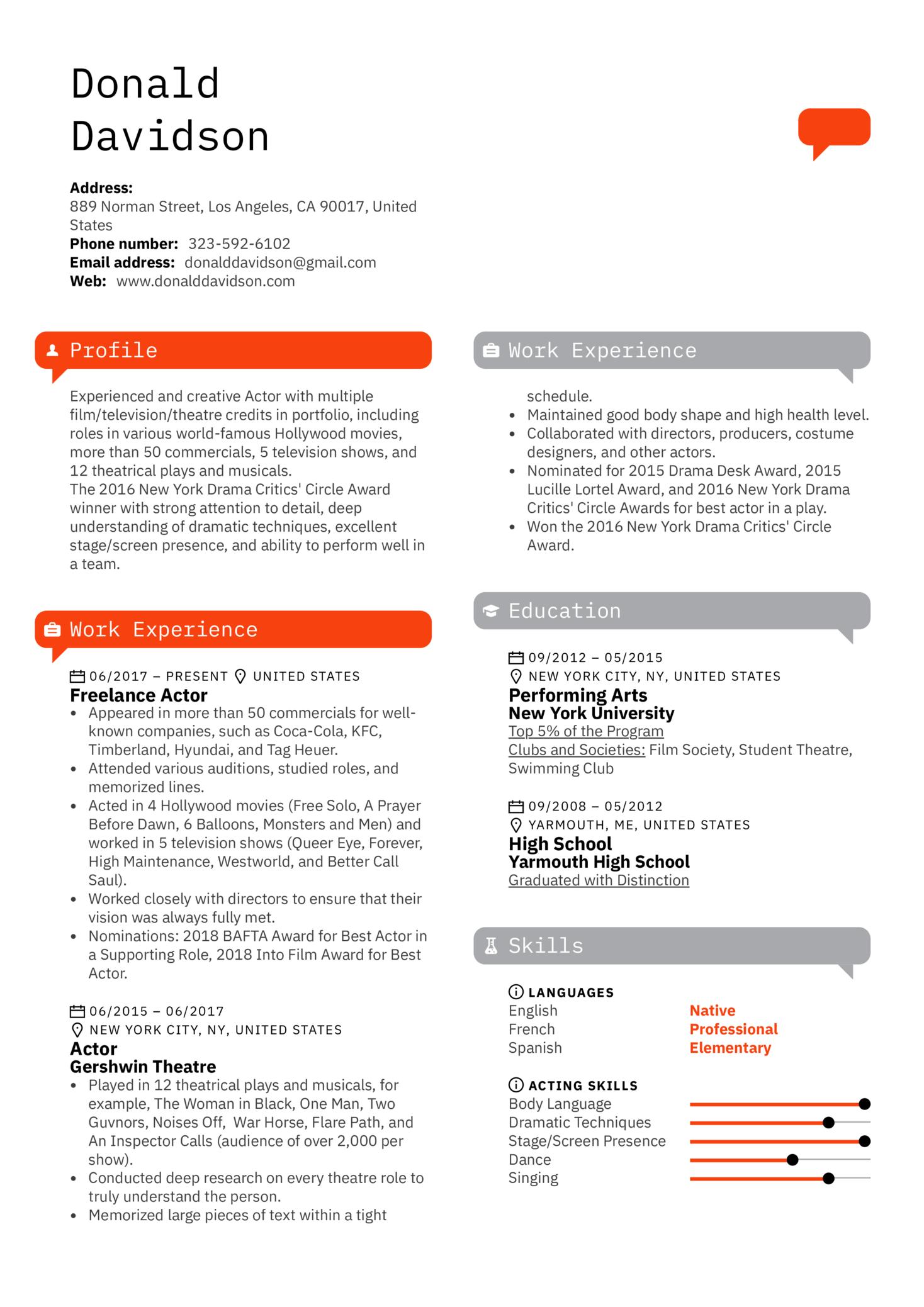 Actor Resume Template (parte 1)