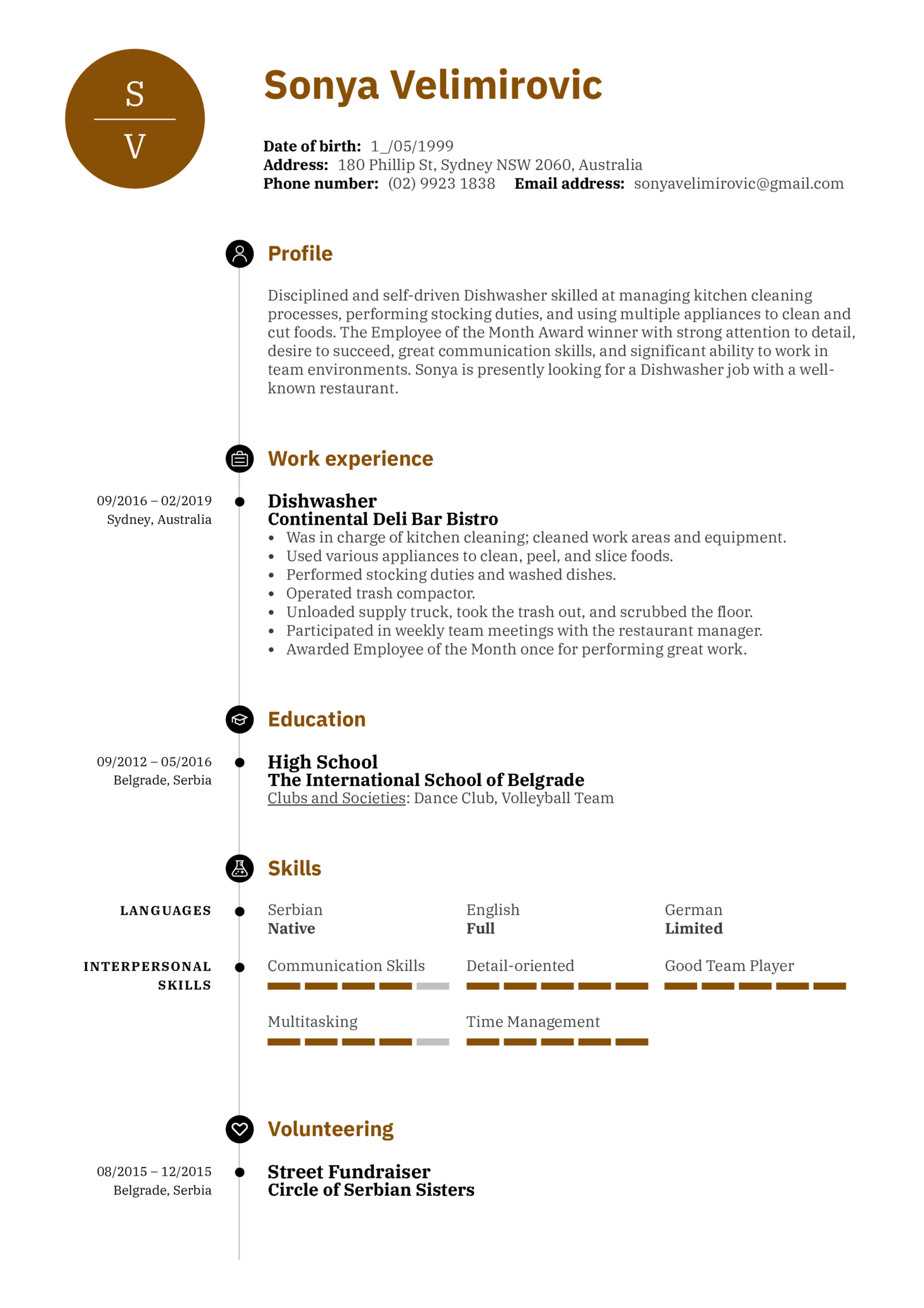 Dishwasher Resume Sample (Teil 1)