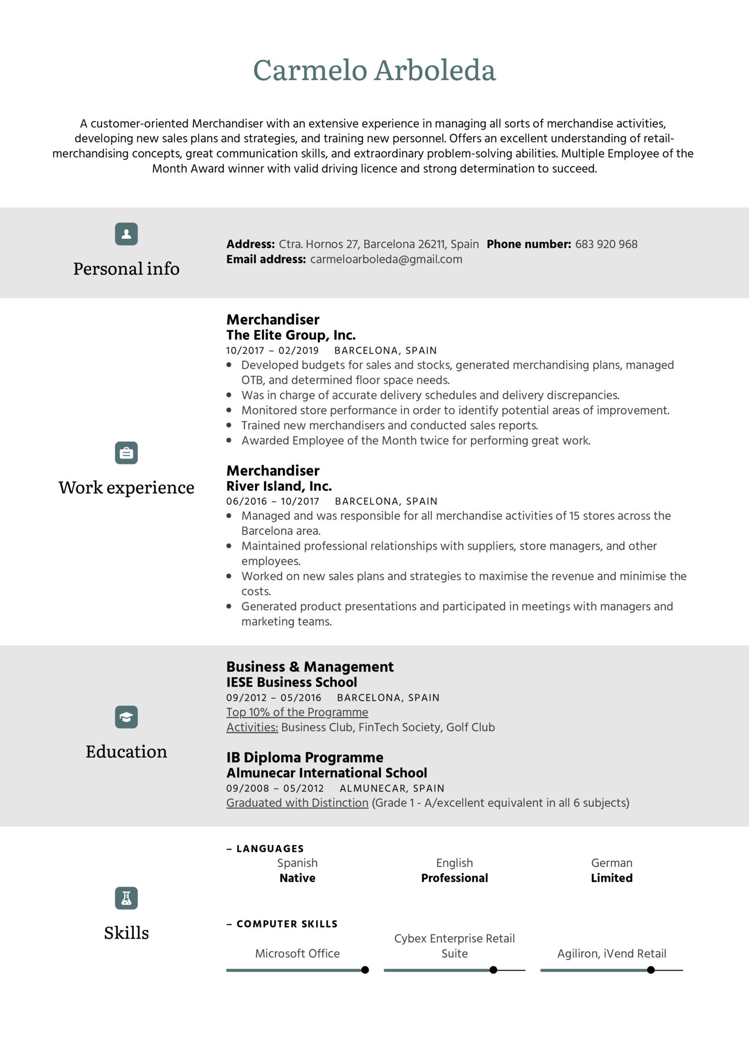 Merchandiser Resume Sample (Part 1)