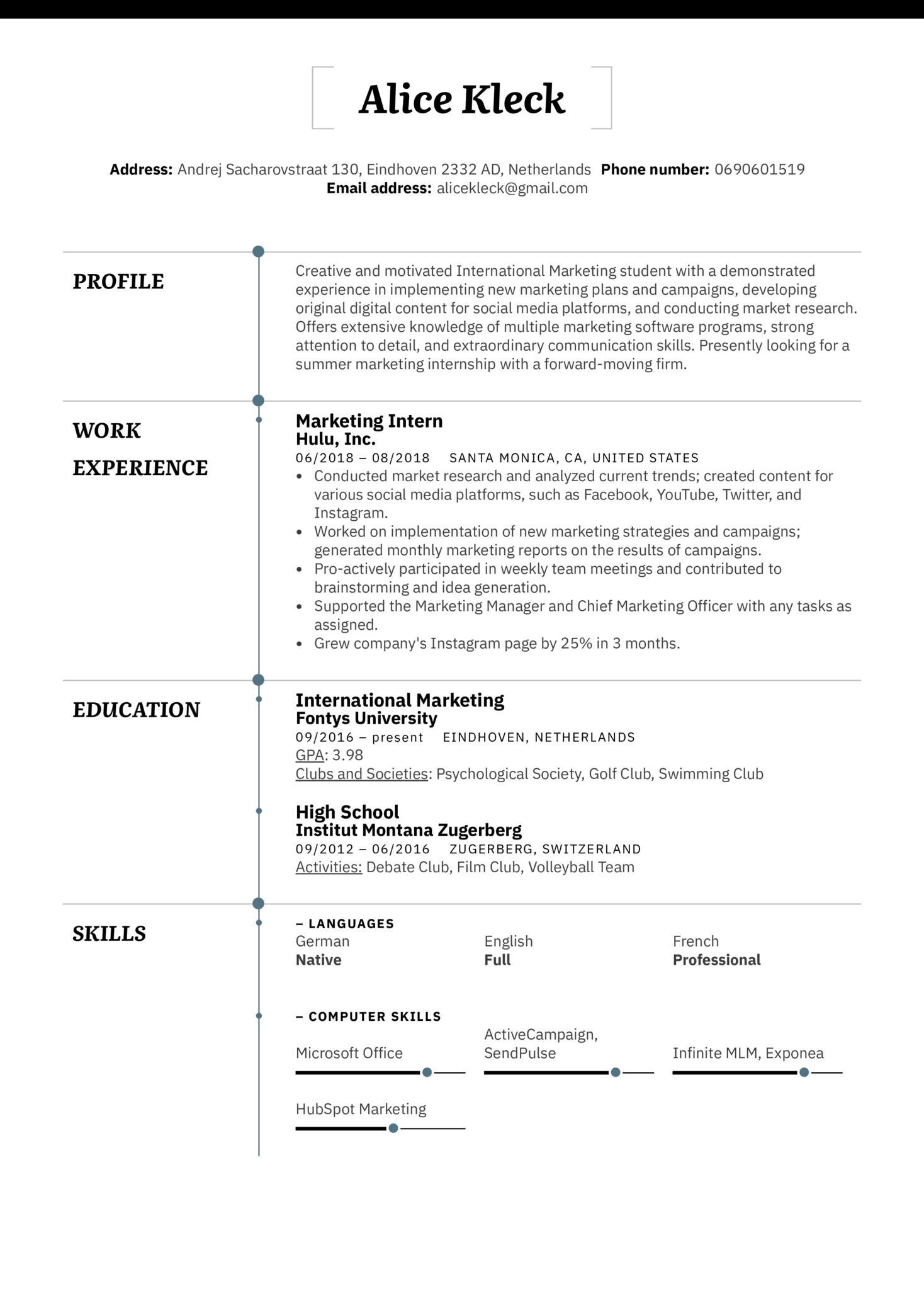 Marketing Intern Resume Example (Part 1)