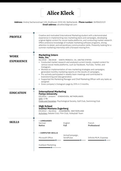 Marketing Intern Resume Example