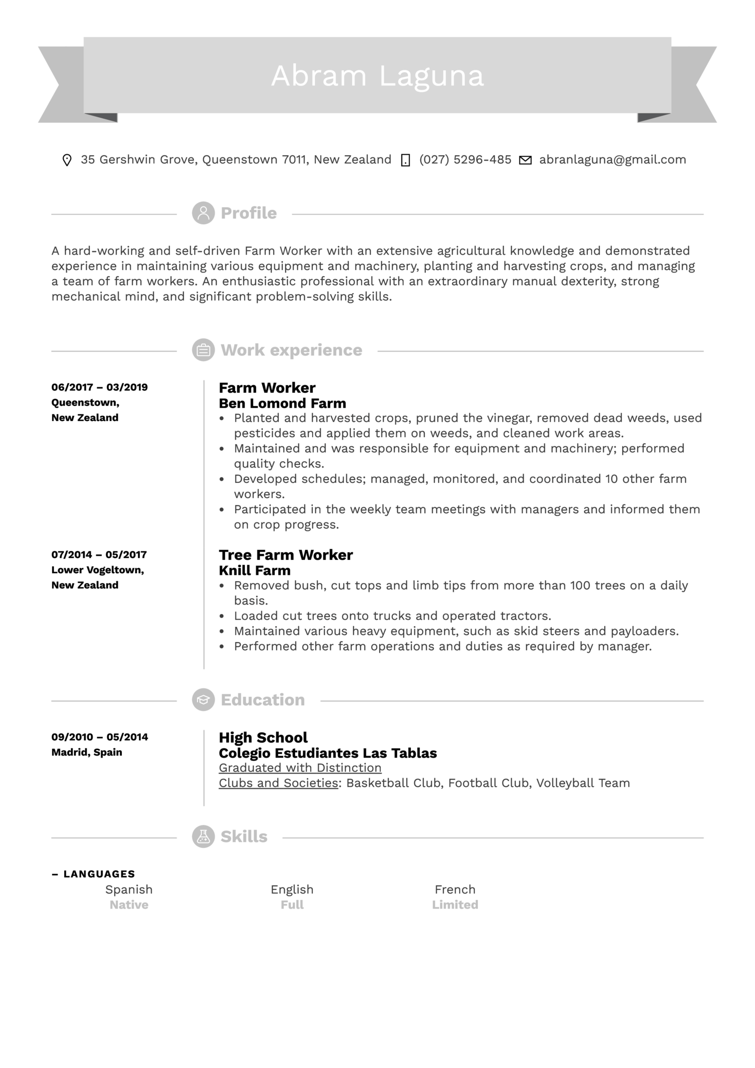 Farm Worker Resume Sample (Part 1)