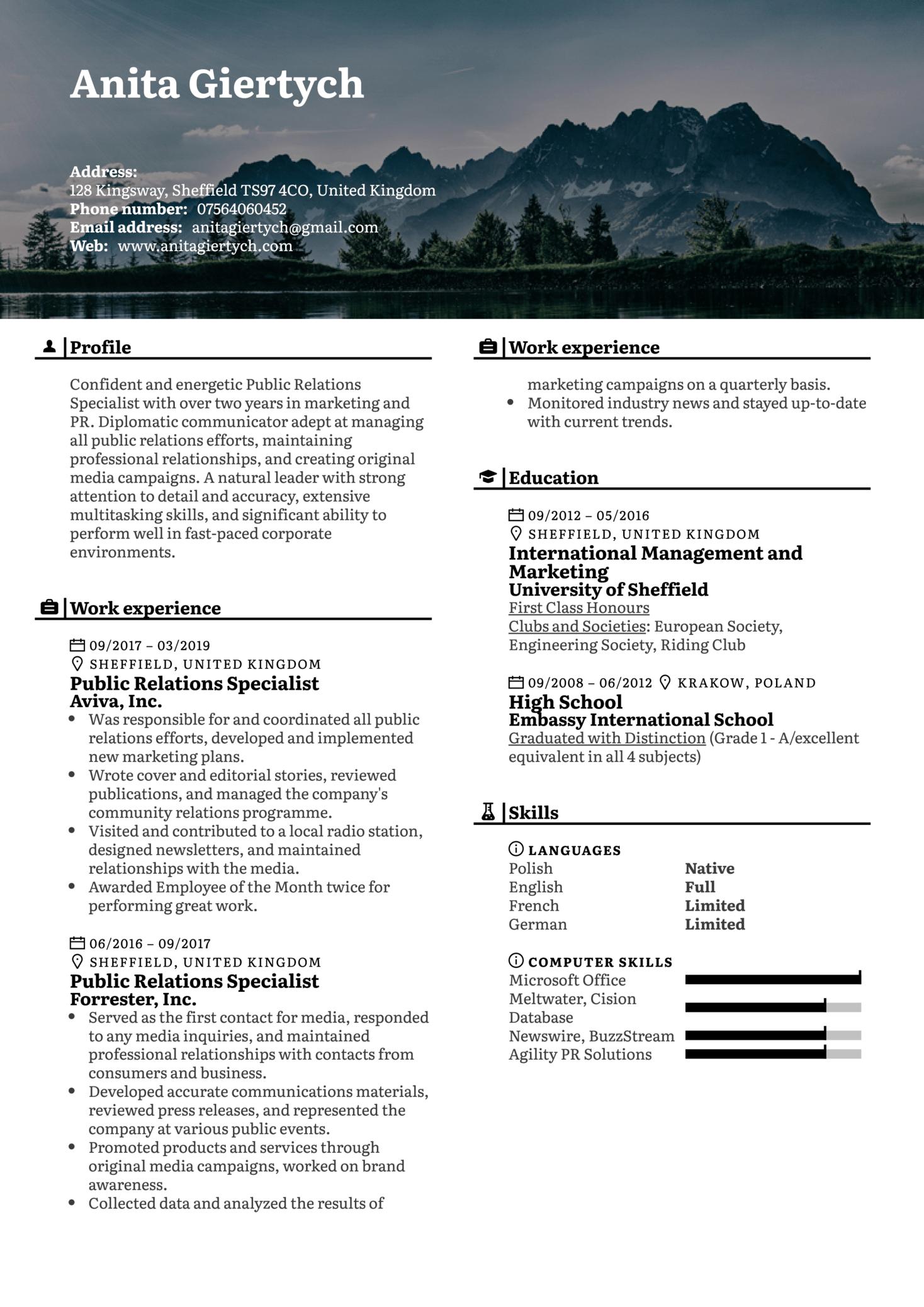 Public Relations Specialist Resume Sample (Part 1)