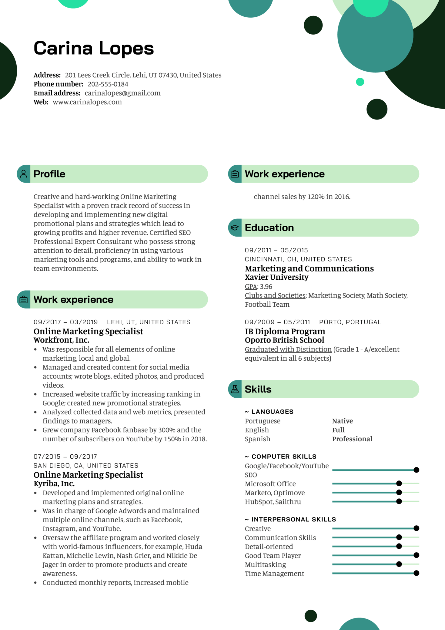 Online Marketing Specialist Resume Template (Teil 1)